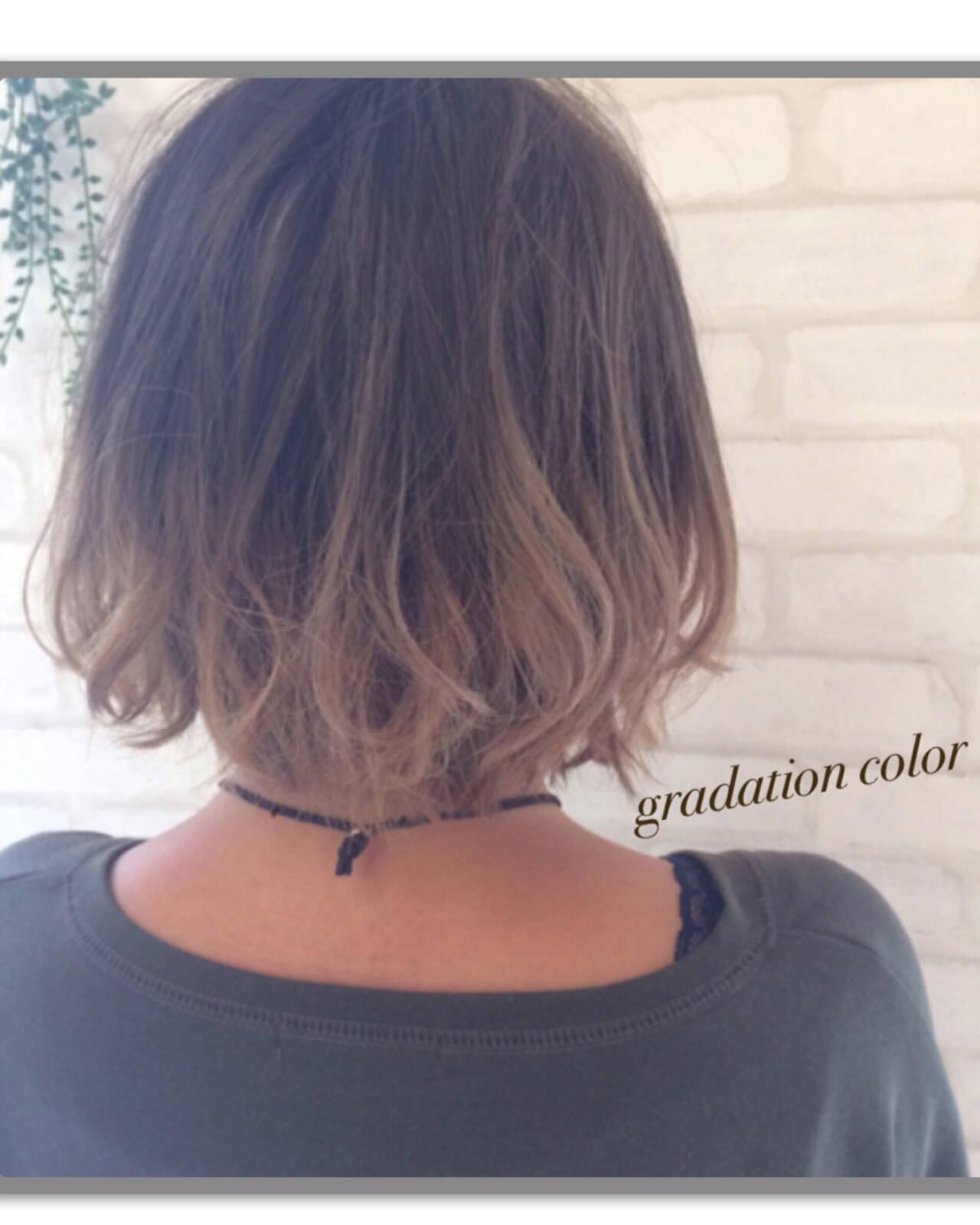 ガーリー ボブ 渋谷系 グラデーションカラーヘアスタイルや髪型の写真・画像