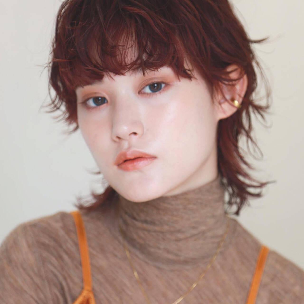 ショート オレンジカラー モード ウルフパーマヘアヘアスタイルや髪型の写真・画像