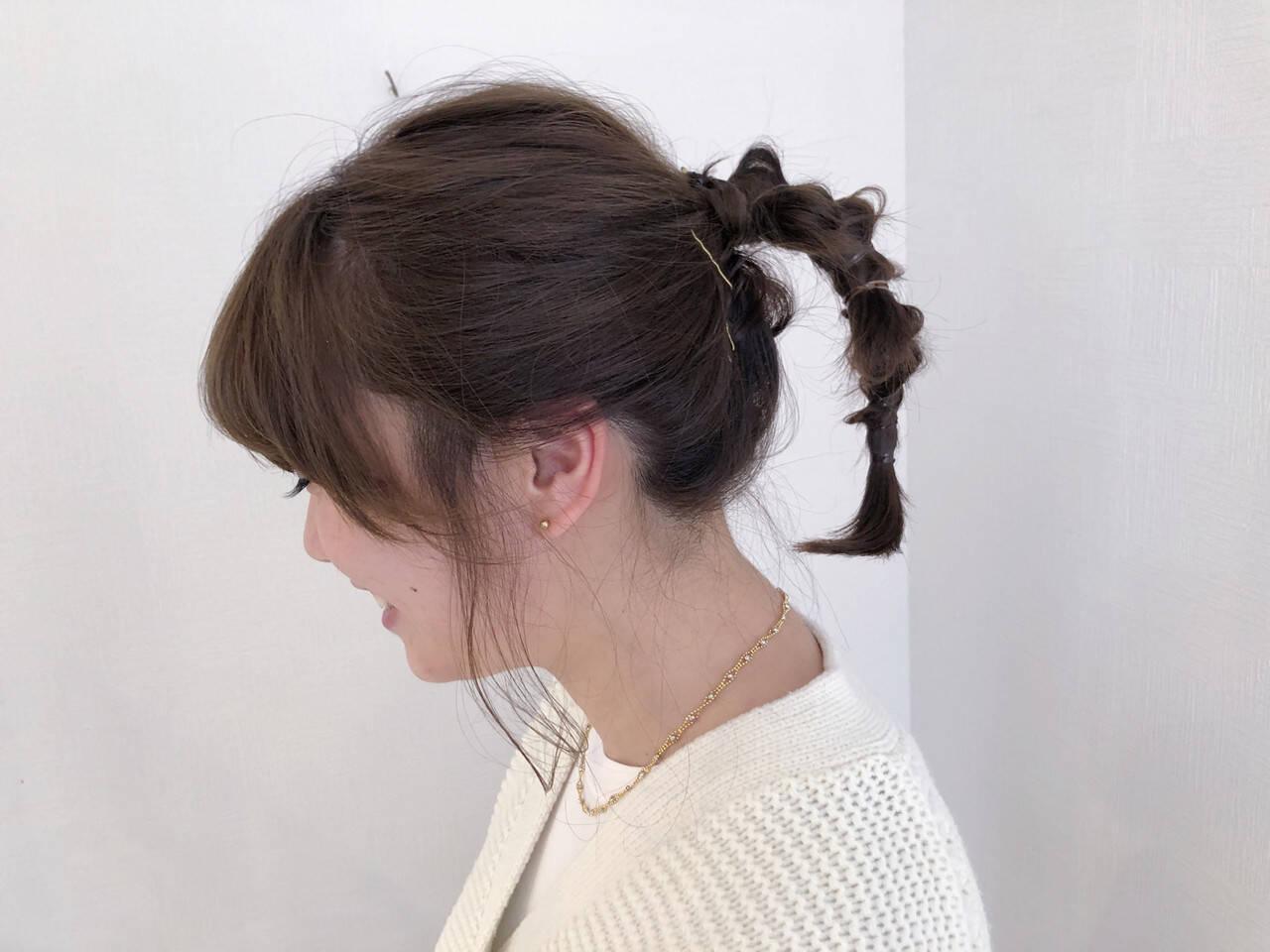 シアーベージュ カーキアッシュ ミディアム ヘアアレンジヘアスタイルや髪型の写真・画像