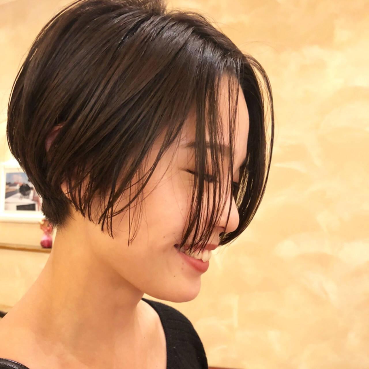 ナチュラル セミウェット ニュアンス ショートボブヘアスタイルや髪型の写真・画像