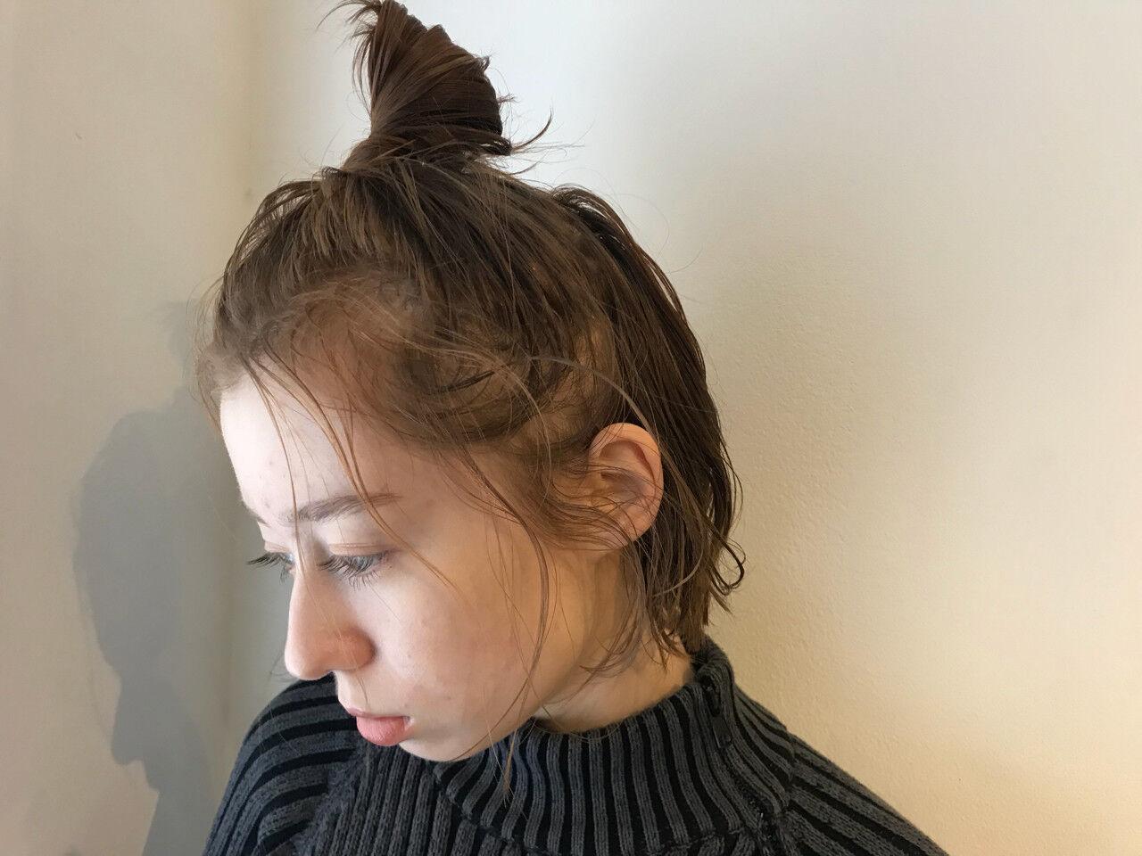 ゆるふわ ヘアアレンジ ショート お団子ヘアスタイルや髪型の写真・画像