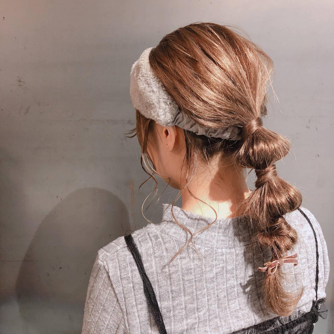 セルフアレンジ ターバンアレンジ セミロング 簡単ヘアアレンジヘアスタイルや髪型の写真・画像