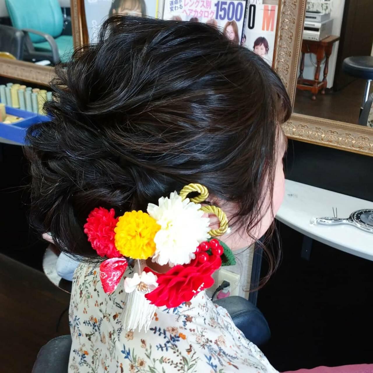 ヘアセット 成人式ヘア 成人式 ナチュラルヘアスタイルや髪型の写真・画像