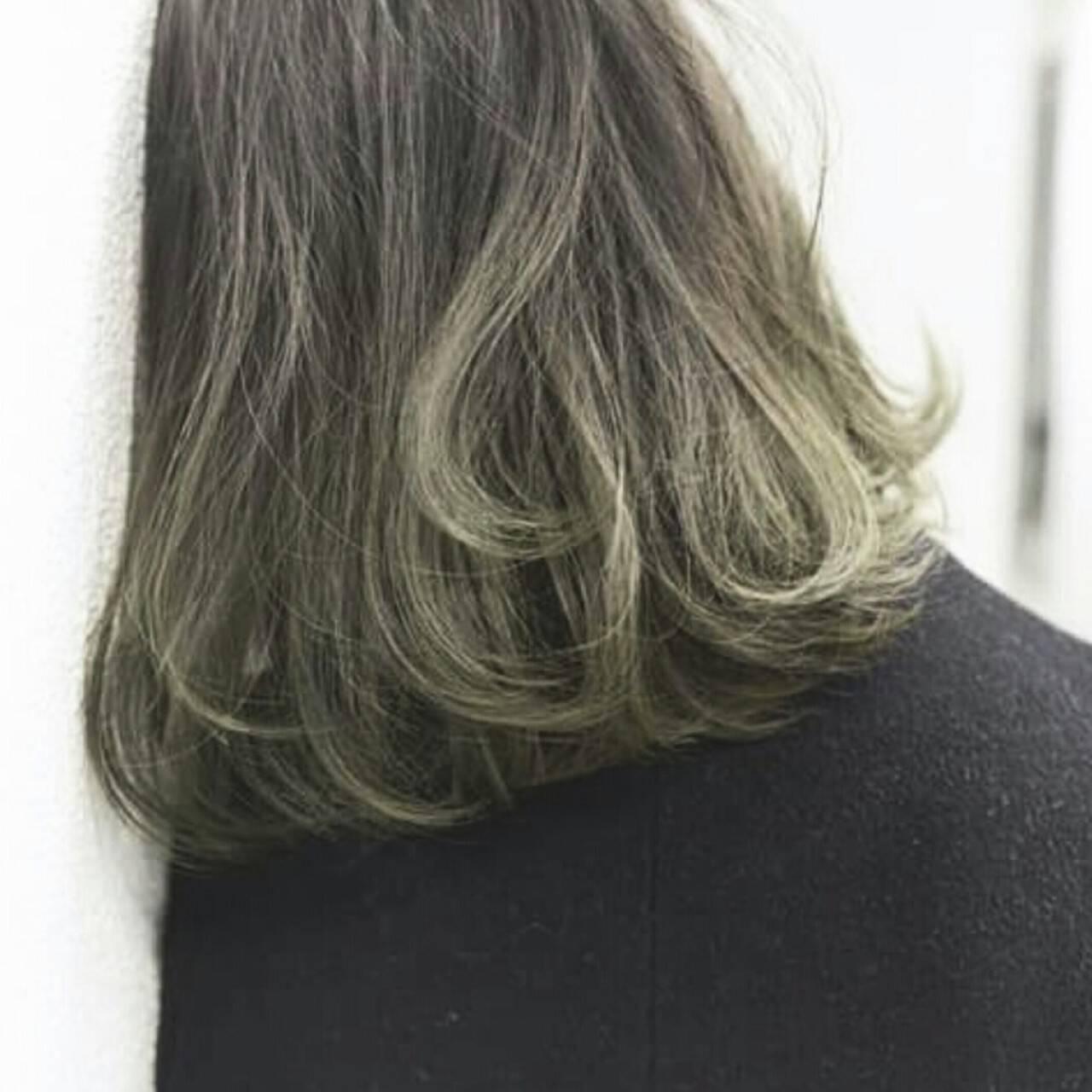 インナーカラー グラデーションカラー ストリート ボブヘアスタイルや髪型の写真・画像