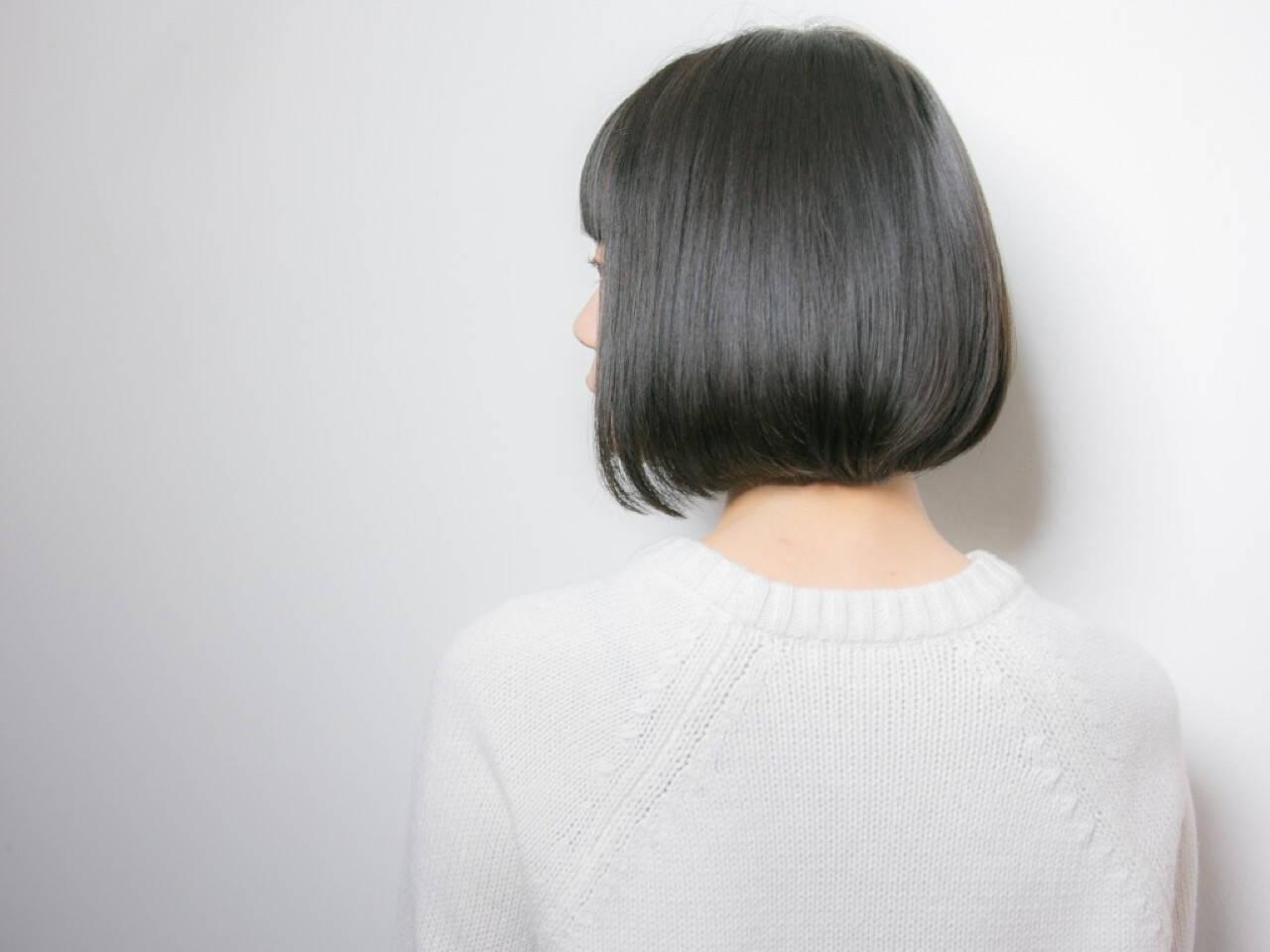 暗髪 ボブ 大人かわいい 前髪ありヘアスタイルや髪型の写真・画像