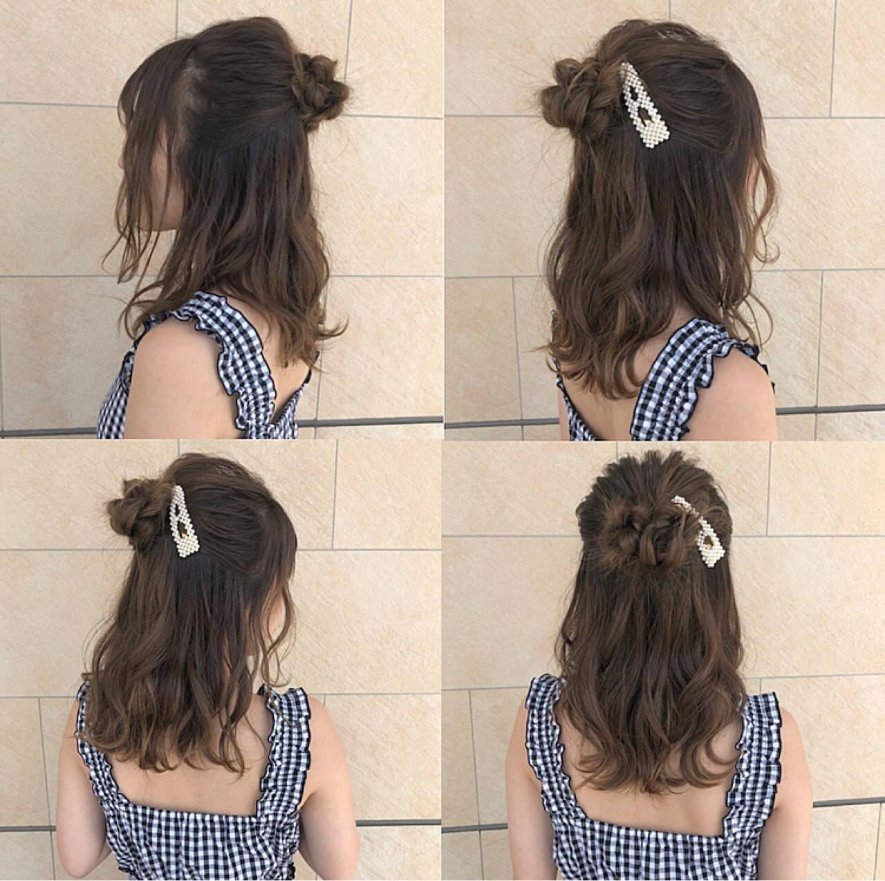 フェミニン ヘアアレンジ ミディアム ハイライトヘアスタイルや髪型の写真・画像