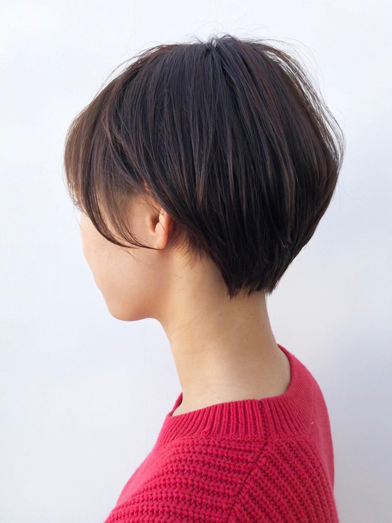 コンサバ マッシュショート デート 耳掛けショートヘアスタイルや髪型の写真・画像
