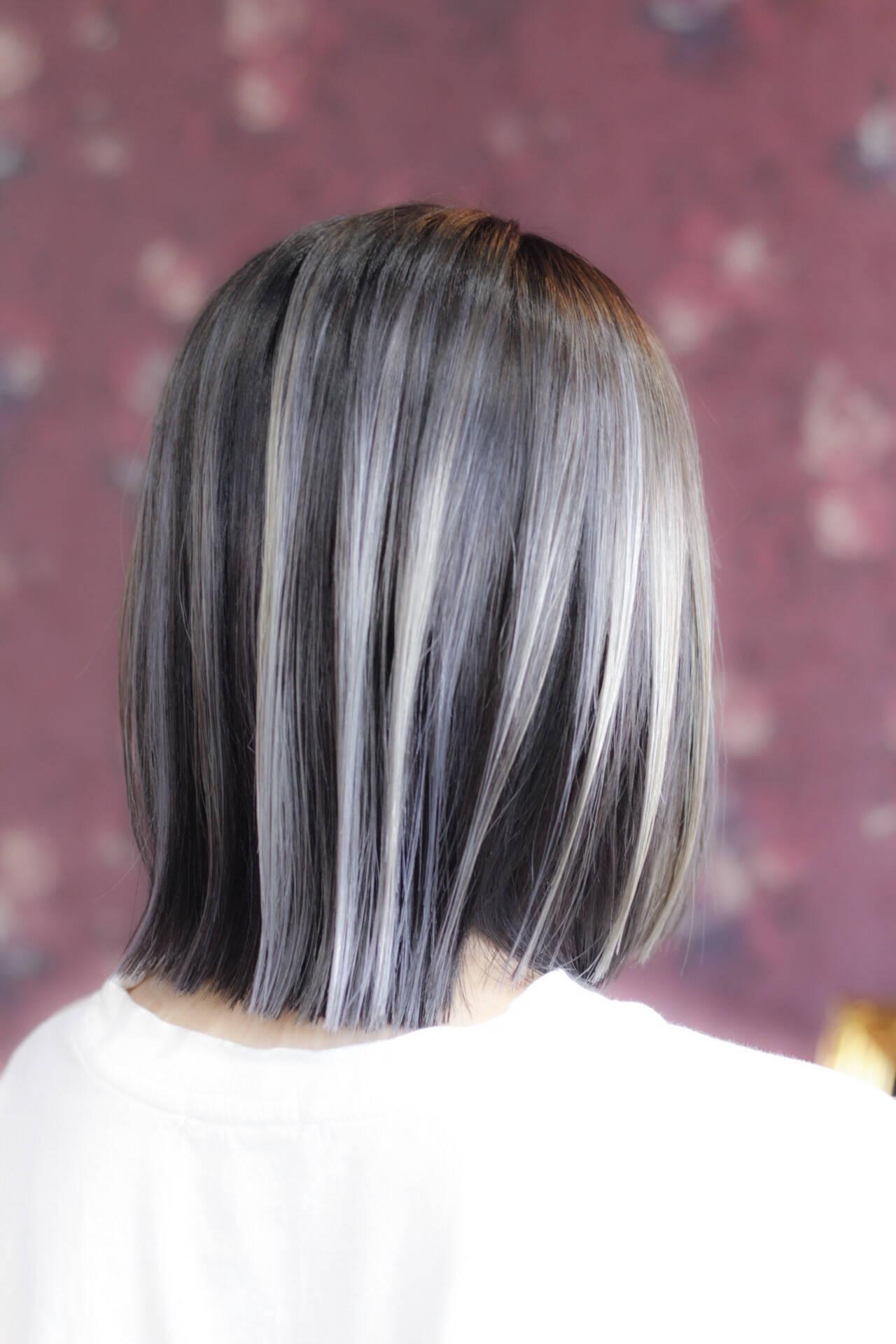 ブリーチ エレガント バレイヤージュ ボブヘアスタイルや髪型の写真・画像
