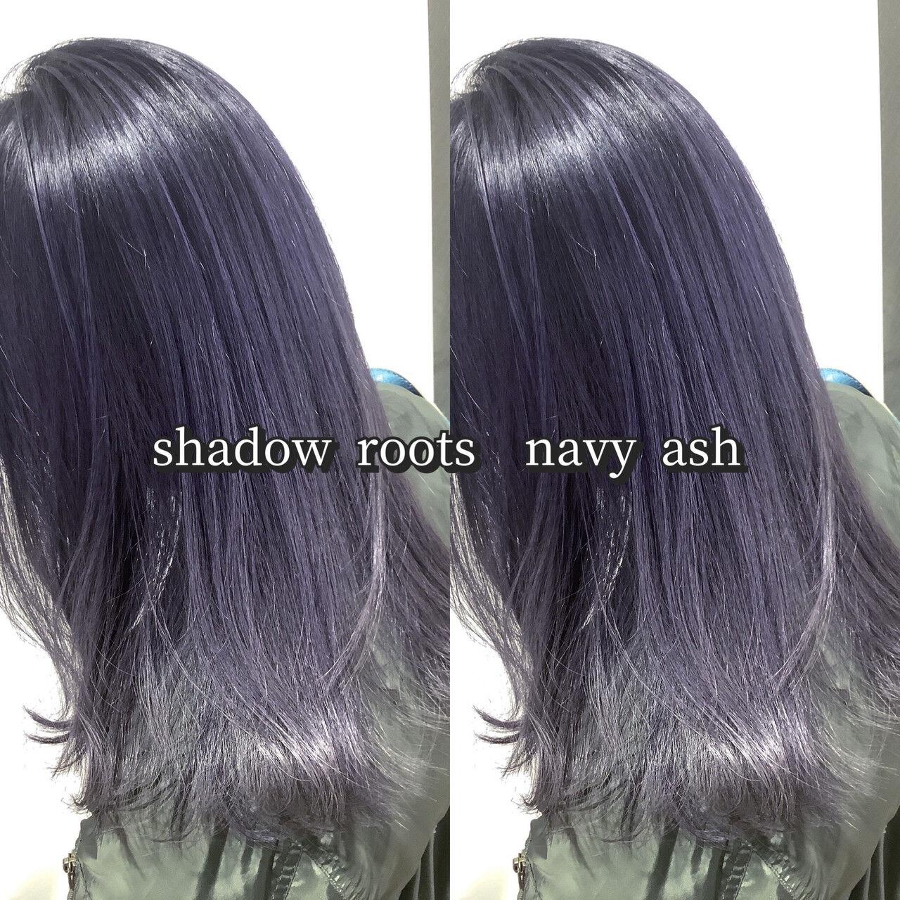 ネイビーアッシュ グレーアッシュ アッシュグレー ネイビーカラーヘアスタイルや髪型の写真・画像