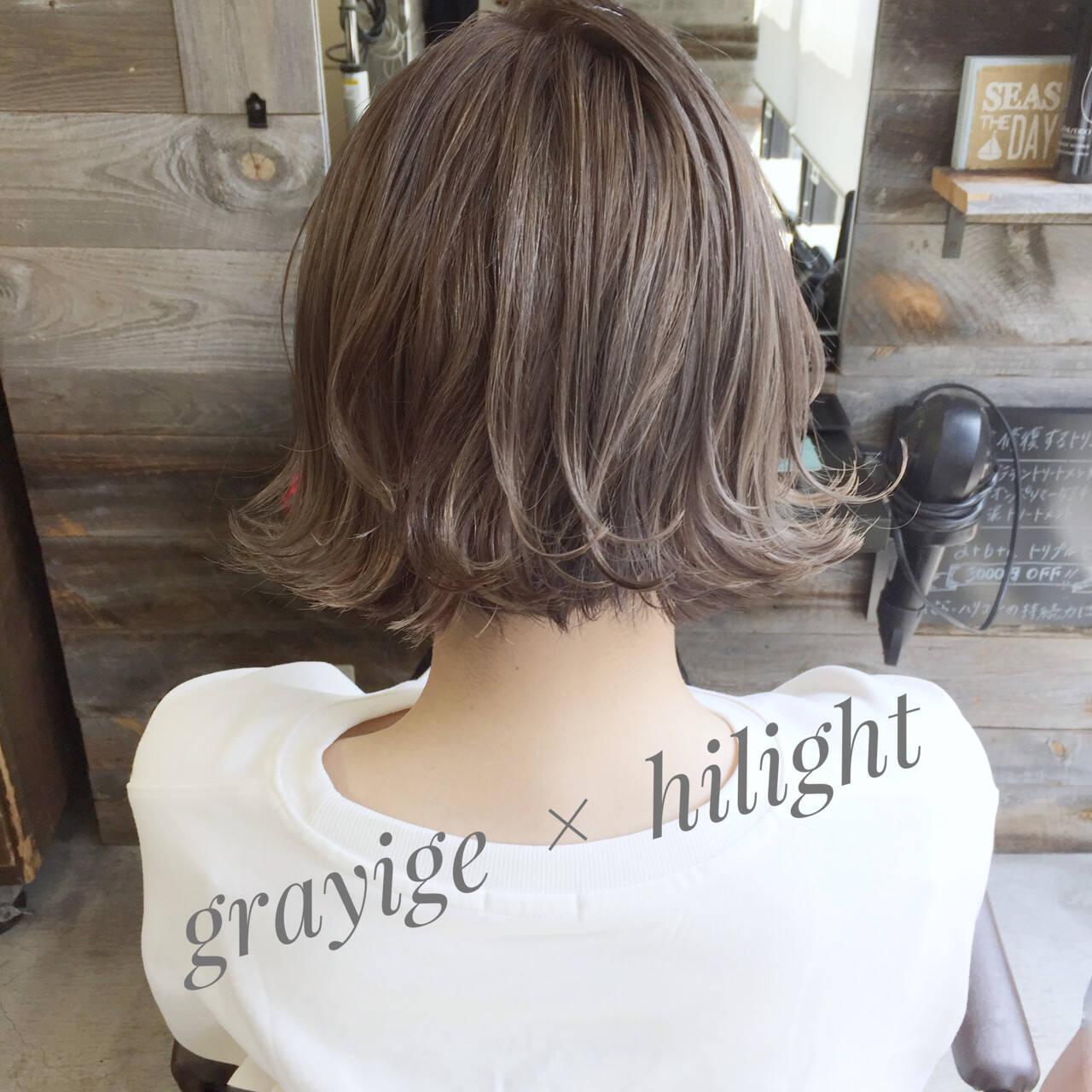 ハイライト 外ハネ 外国人風 ボブヘアスタイルや髪型の写真・画像