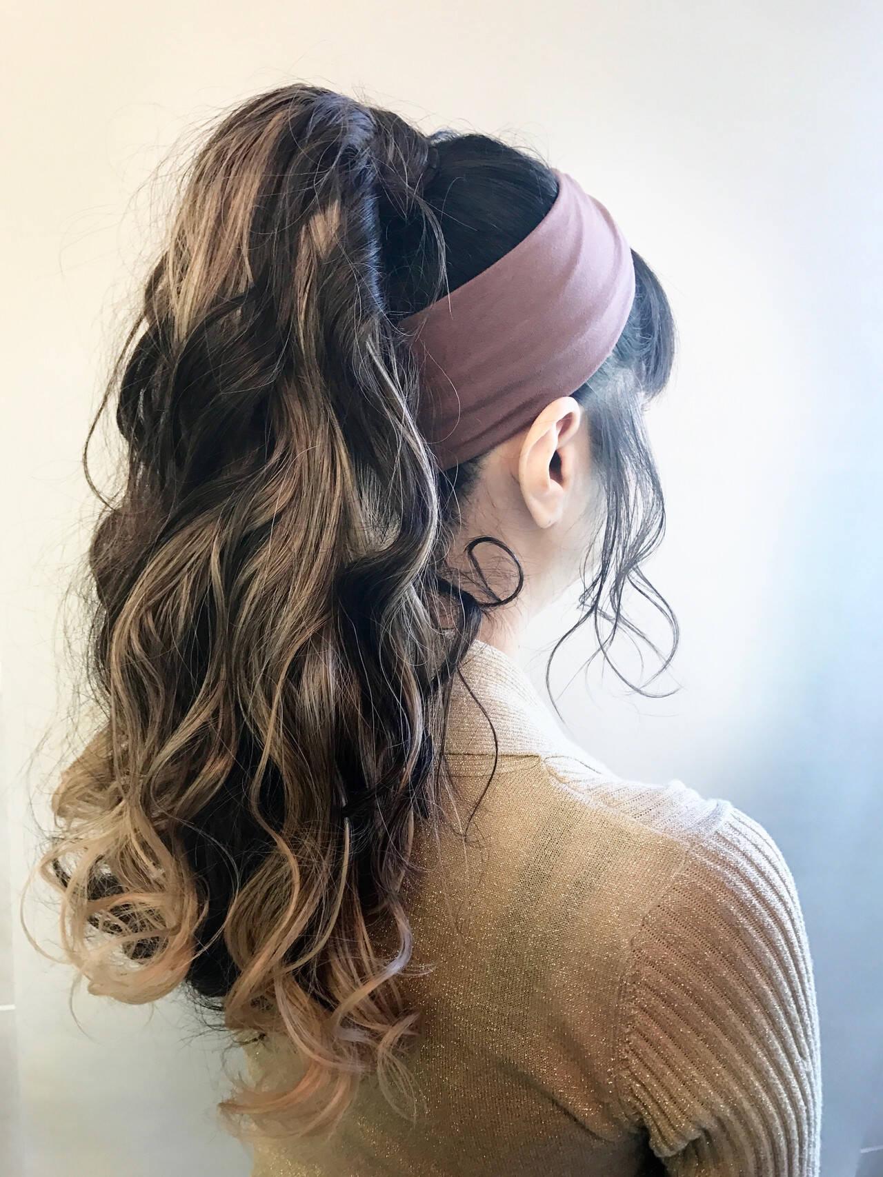 ヘアアレンジ セルフヘアアレンジ ガーリー ポニーテールアレンジヘアスタイルや髪型の写真・画像