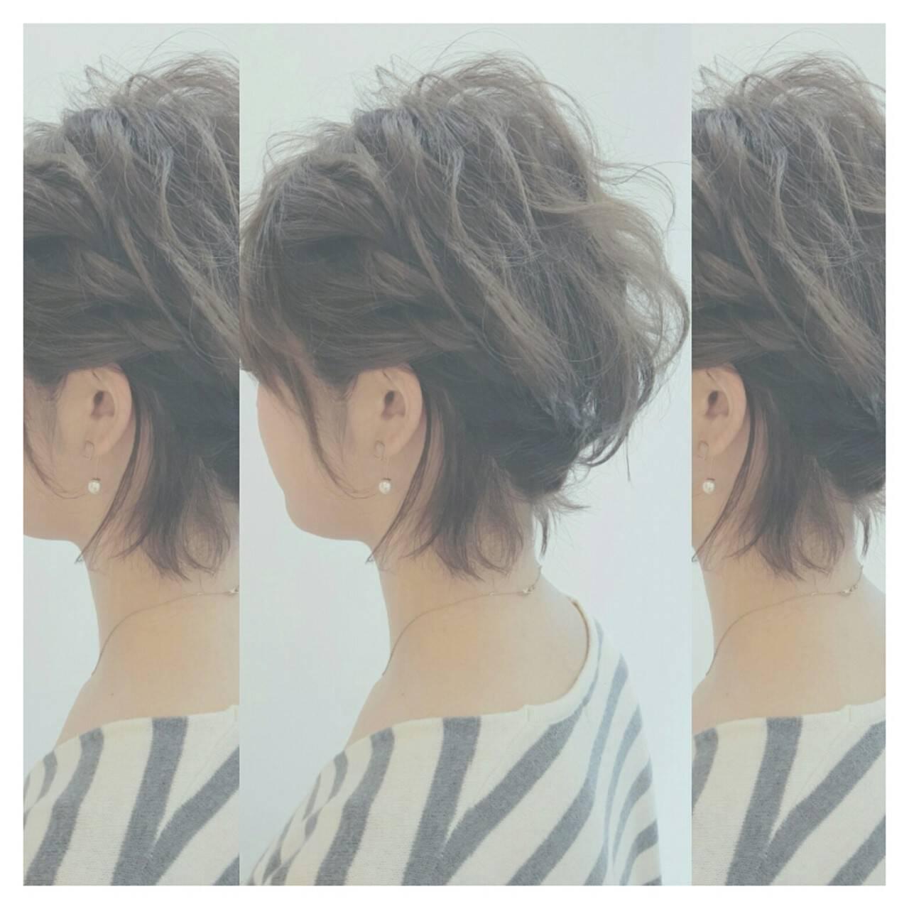 大人かわいい ショート ゆるふわ ヘアアレンジヘアスタイルや髪型の写真・画像