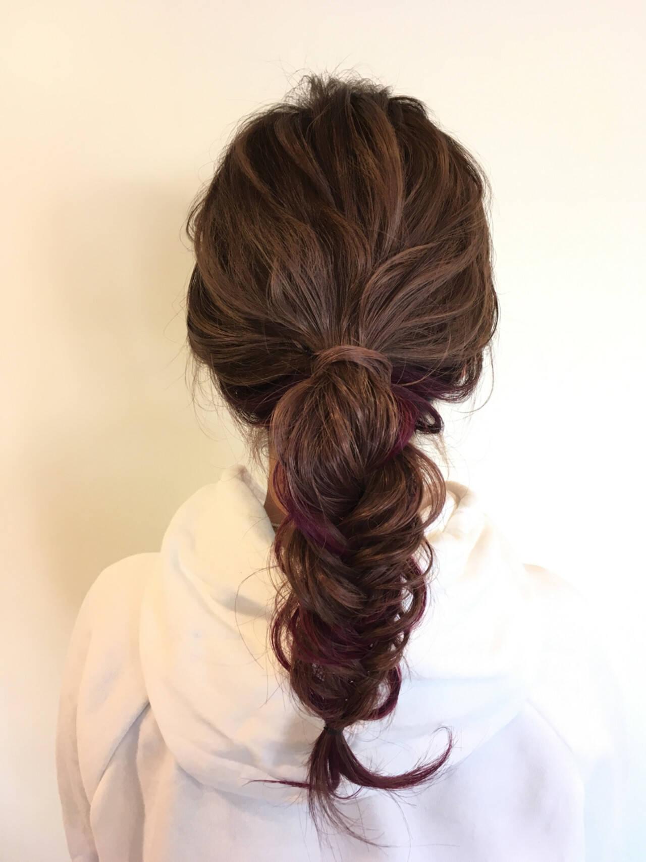 ナチュラル ヘアアレンジ 簡単ヘアアレンジ ピンクヘアスタイルや髪型の写真・画像