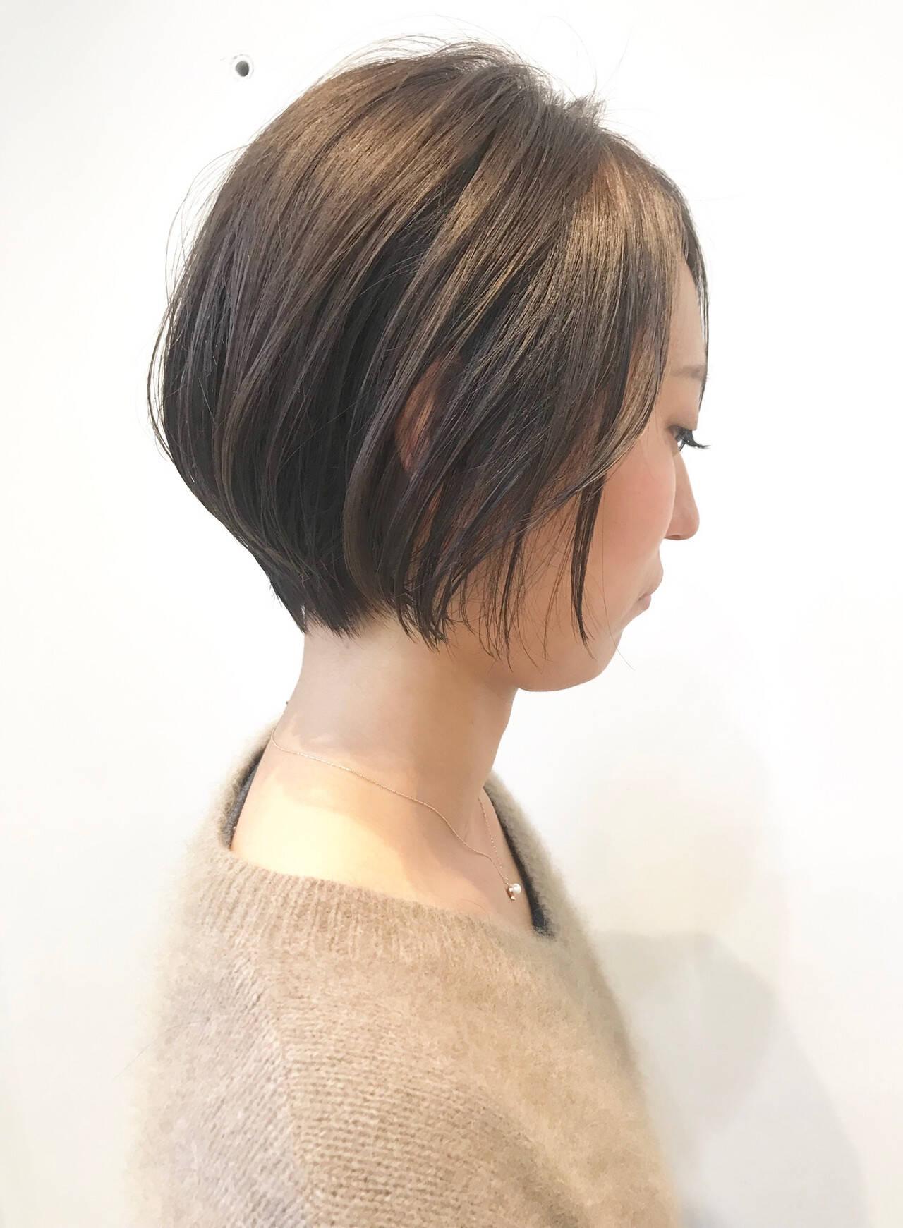ナチュラル ショートボブ デート ハンサムショートヘアスタイルや髪型の写真・画像
