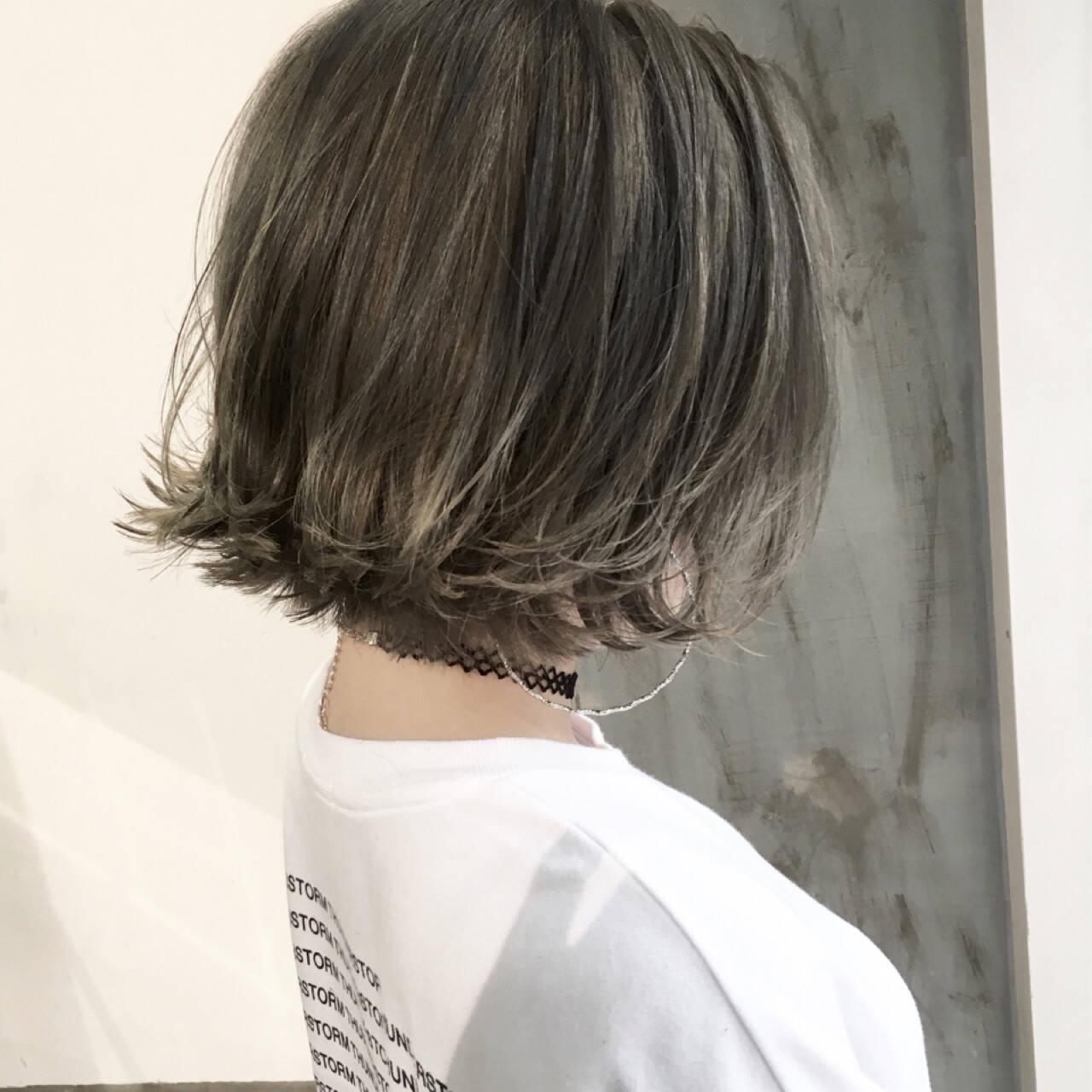 こなれ感 ボブ センターパート ストリートヘアスタイルや髪型の写真・画像