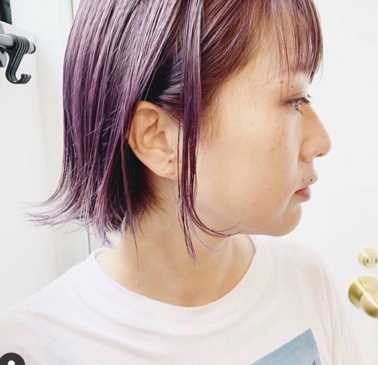 ラベンダーグレージュ ミルクティーグレージュ ラベンダーアッシュ ボブヘアスタイルや髪型の写真・画像