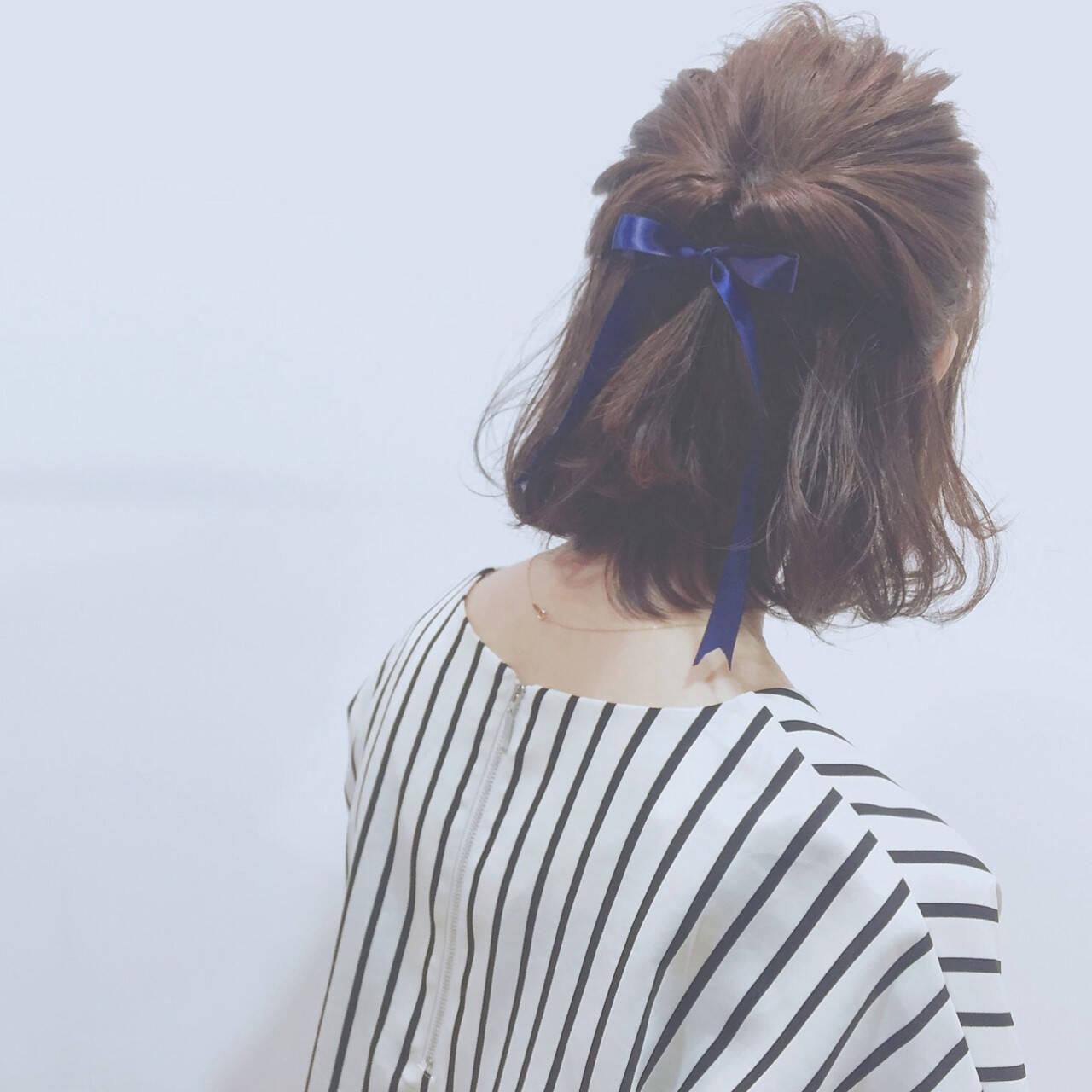 ハーフアップ 簡単ヘアアレンジ 外国人風 ボブヘアスタイルや髪型の写真・画像