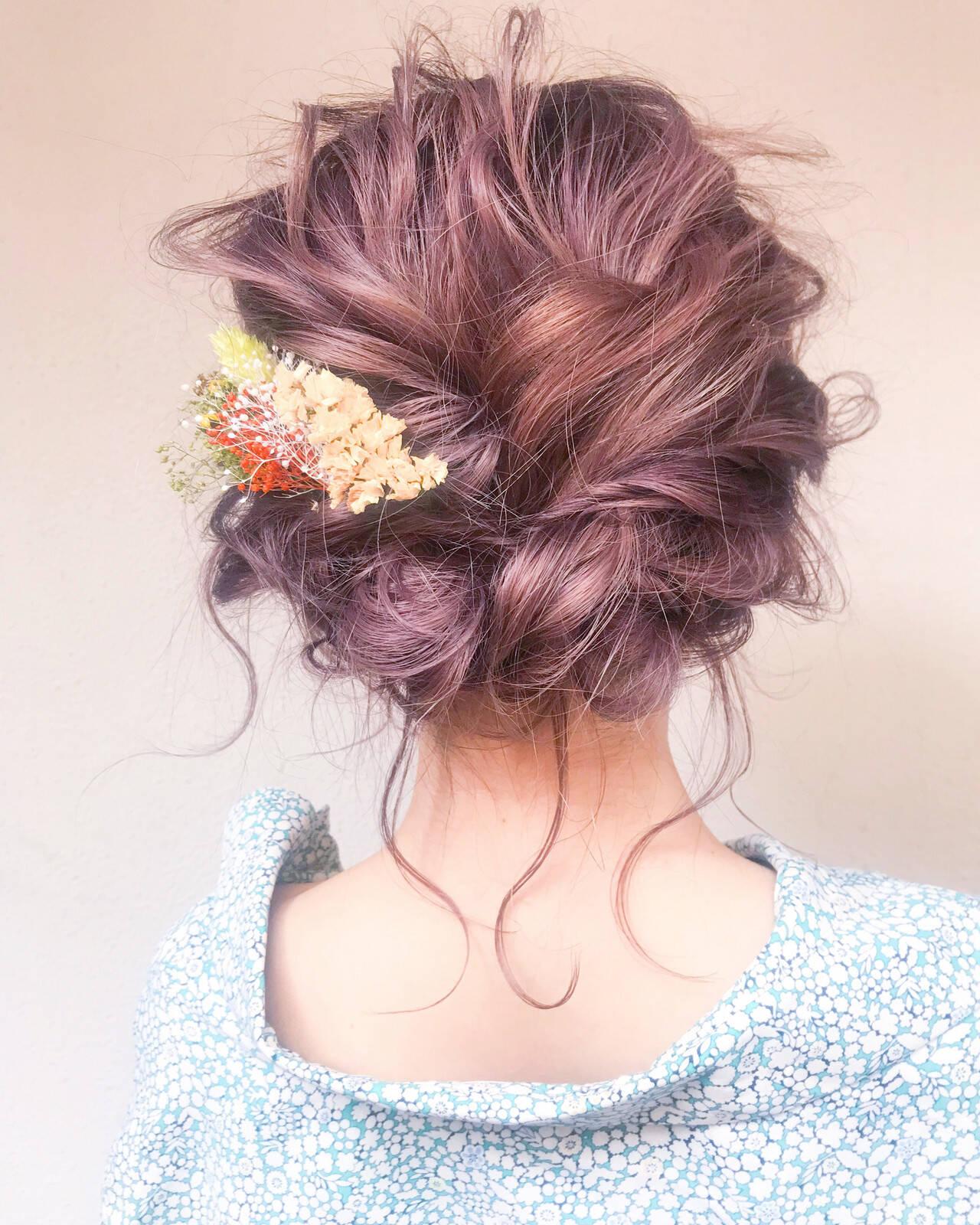 ヘアアレンジ フェミニン アンニュイほつれヘア 結婚式ヘアスタイルや髪型の写真・画像