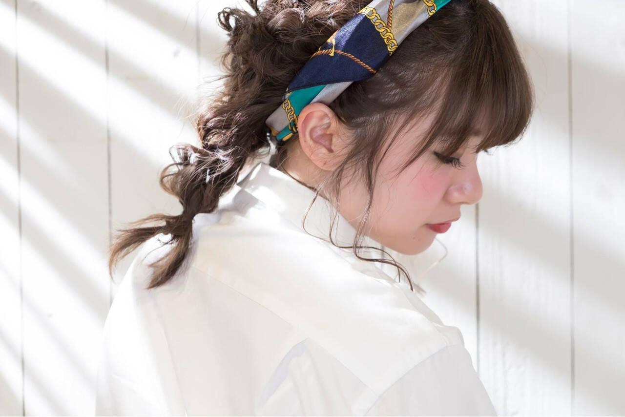 小顔 簡単ヘアアレンジ 大人女子 ミディアムヘアスタイルや髪型の写真・画像