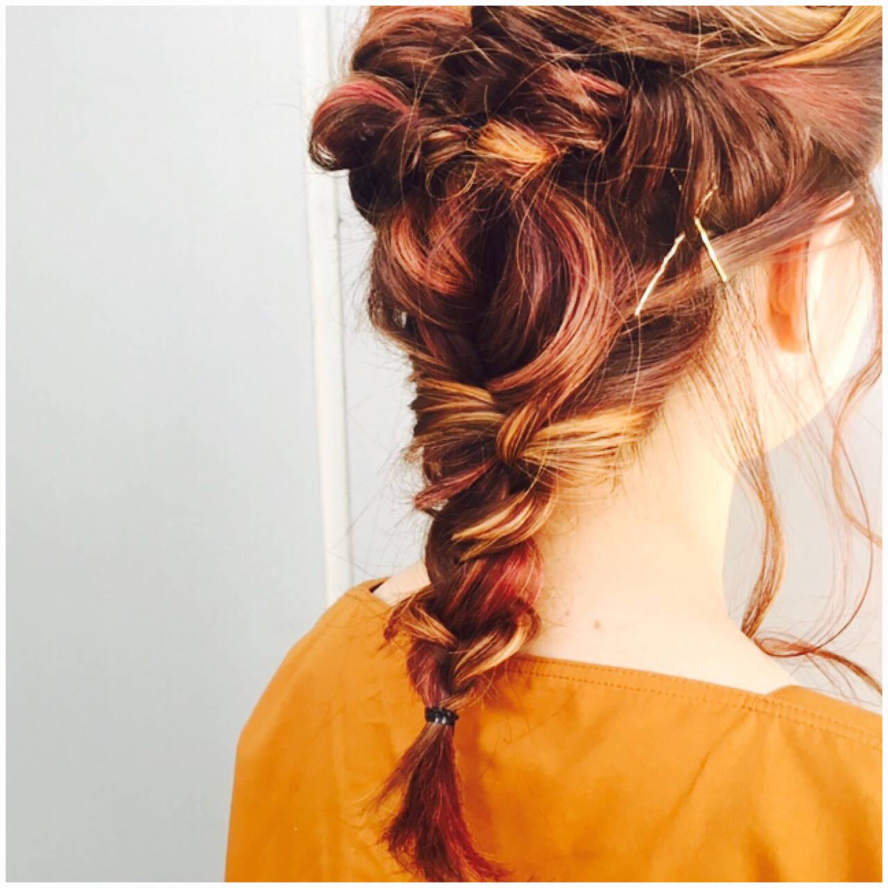 ロング ストリート ピンク 簡単ヘアアレンジヘアスタイルや髪型の写真・画像