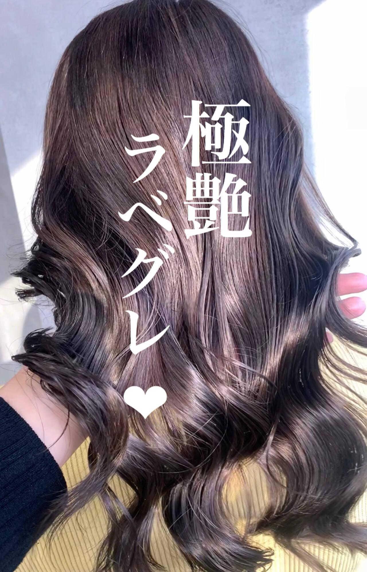 アッシュグレー エレガント ラベンダーアッシュ ラベンダーグレーヘアスタイルや髪型の写真・画像