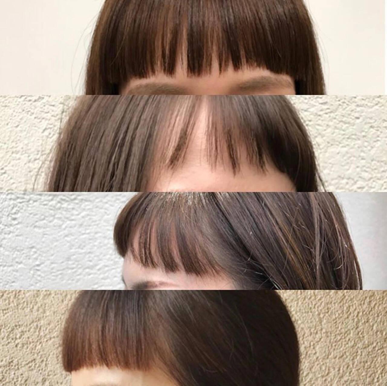ボブ 斜め前髪 前髪パッツン 前髪ありヘアスタイルや髪型の写真・画像