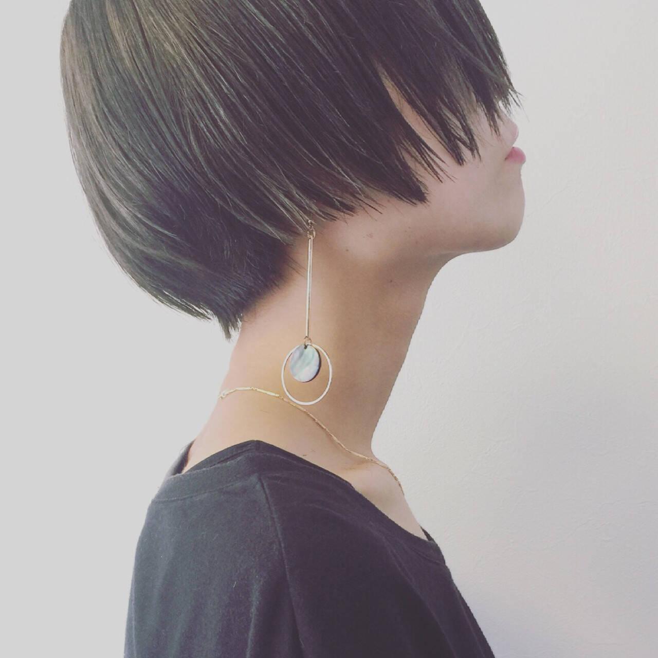 かっこいい こなれ感 ショート ハイライトヘアスタイルや髪型の写真・画像