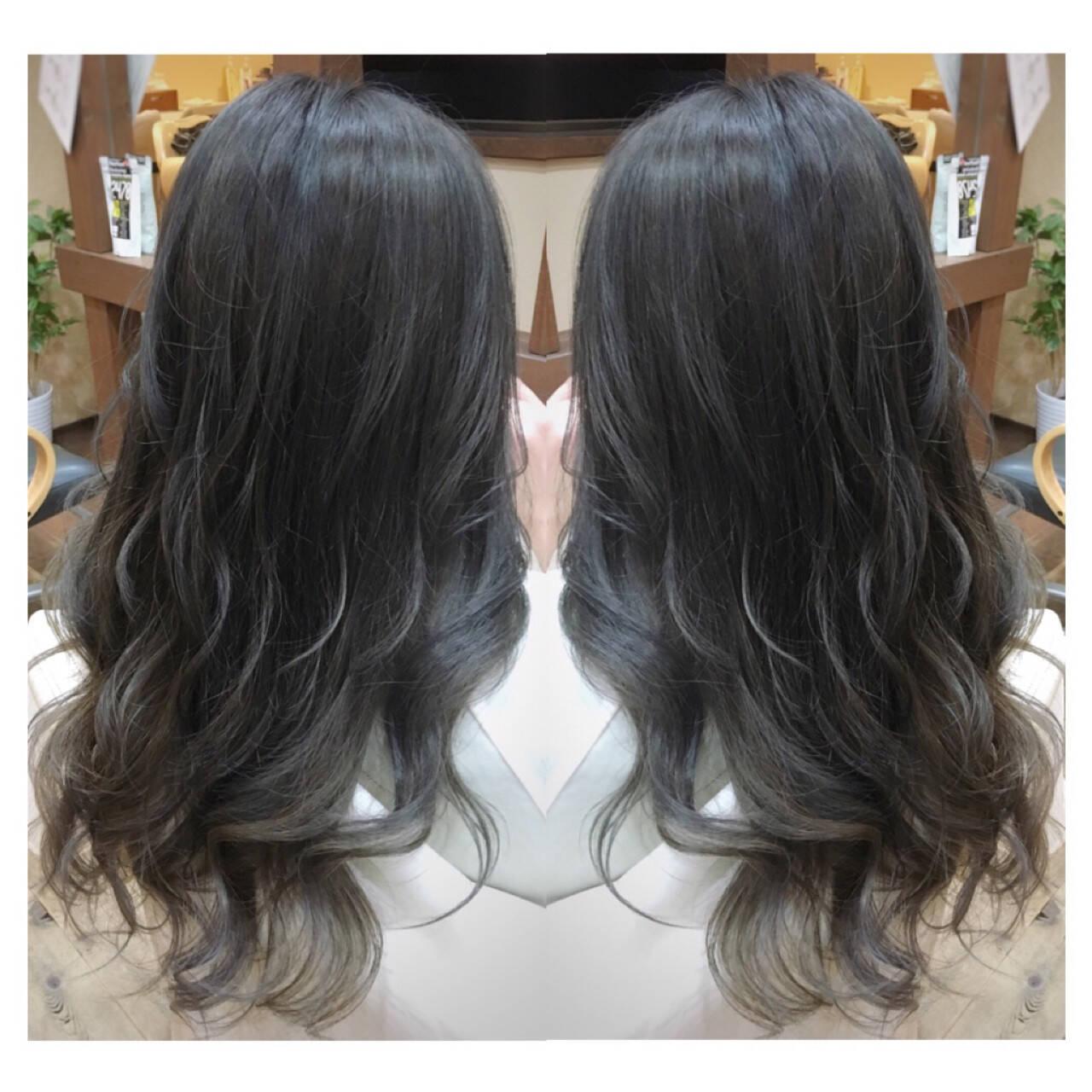 ガーリー ブルー 外国人風 ロングヘアスタイルや髪型の写真・画像