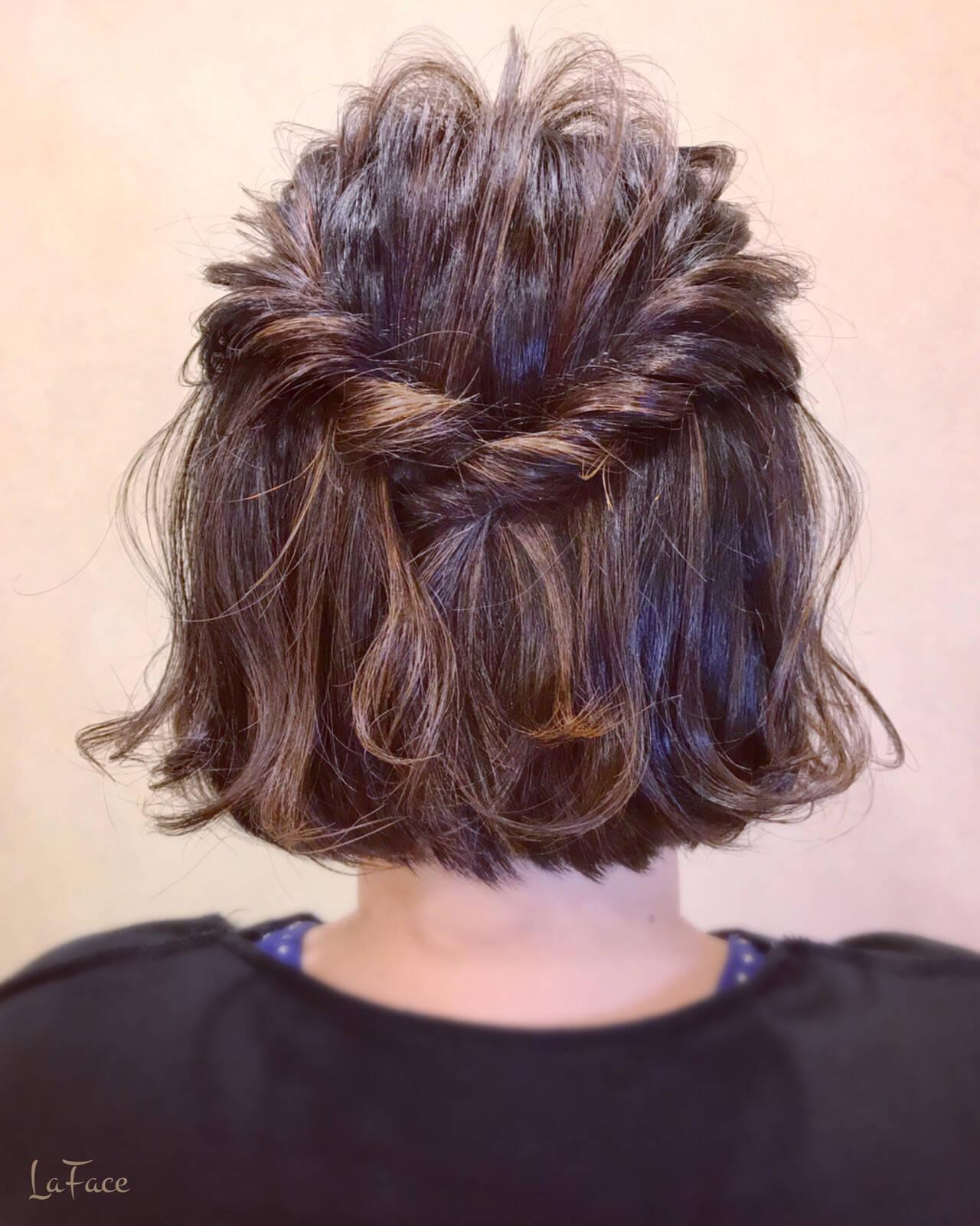 デート ボブアレンジ 外ハネボブ フェミニンヘアスタイルや髪型の写真・画像