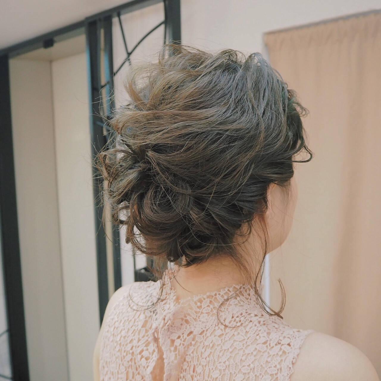 簡単ヘアアレンジ ショート ミディアム 編み込みヘアスタイルや髪型の写真・画像