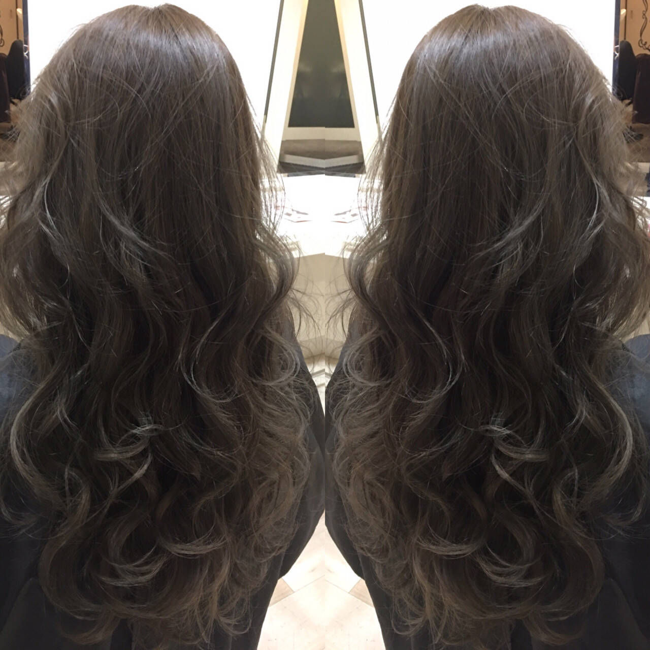 外国人風 暗髪 ロング アッシュヘアスタイルや髪型の写真・画像