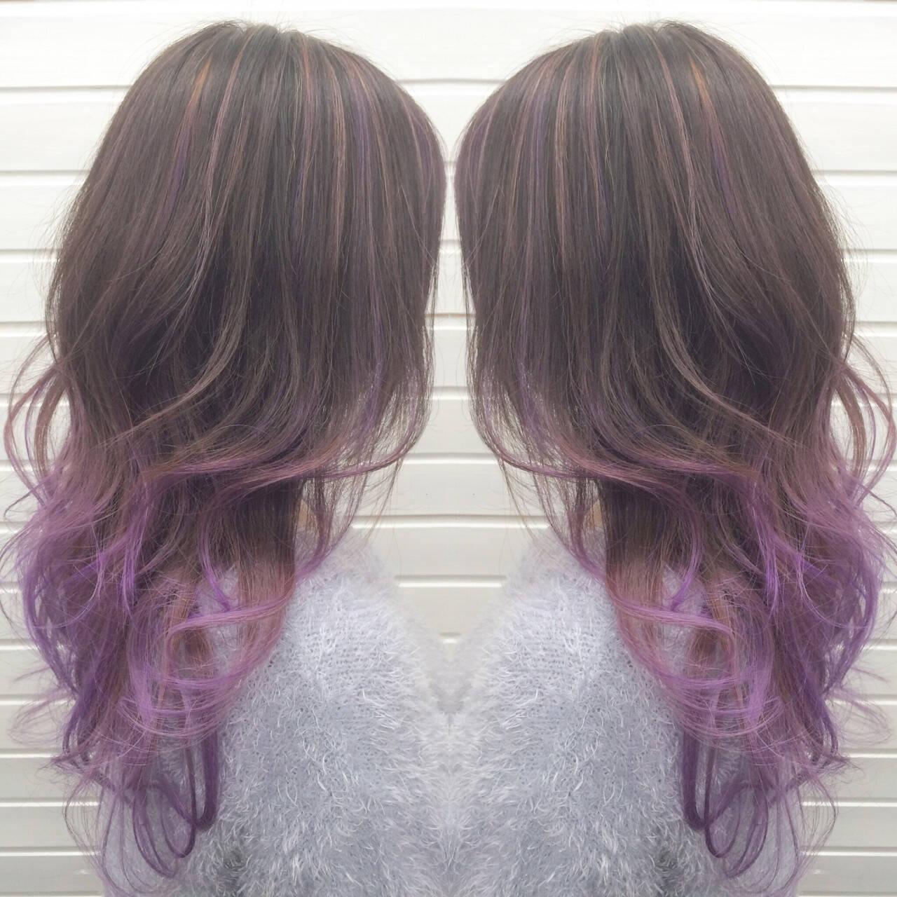 ハイライト ストリート パープル グラデーションカラーヘアスタイルや髪型の写真・画像