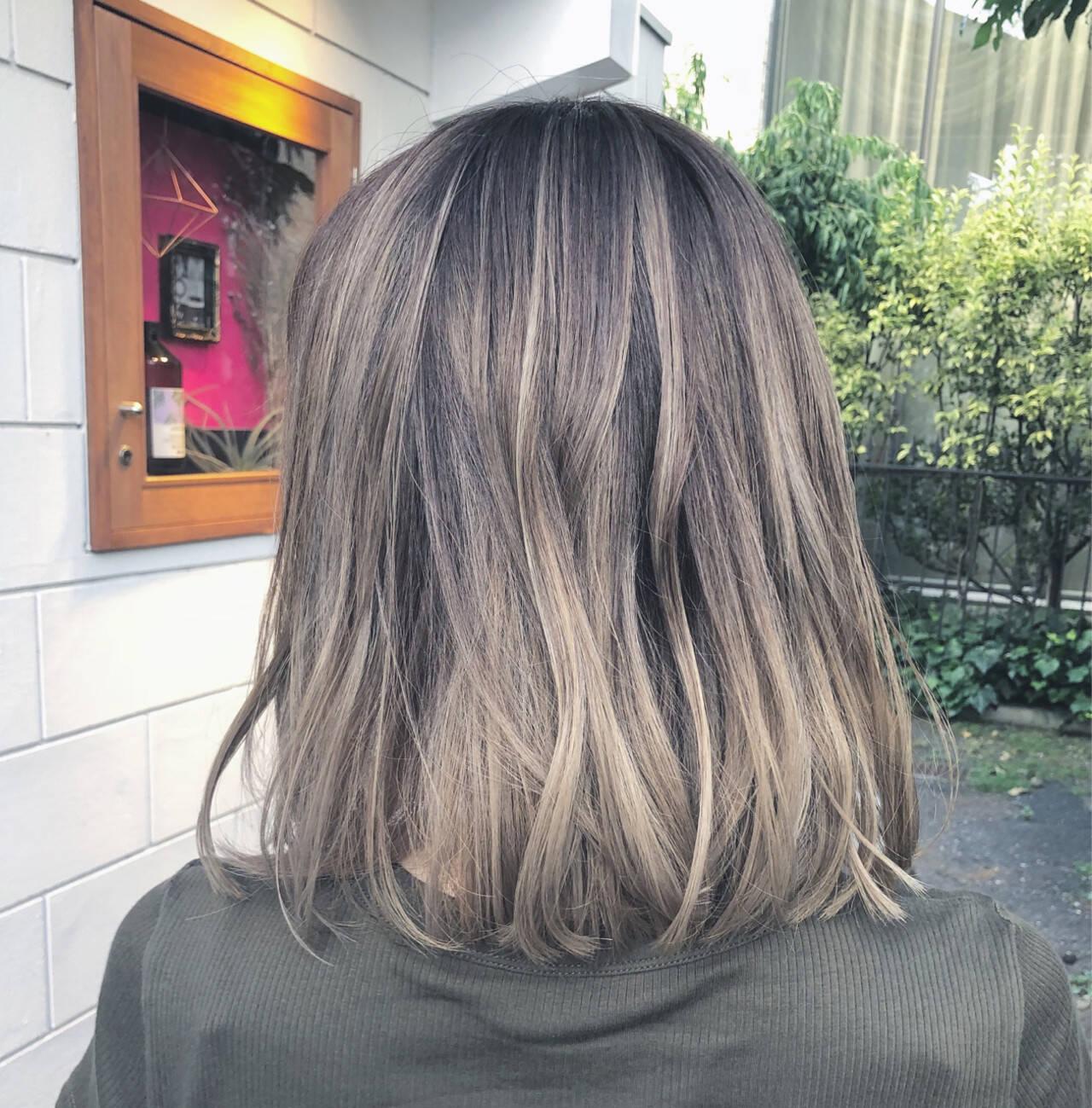 グラデーションカラー 透明感 ボブ ハイライトヘアスタイルや髪型の写真・画像