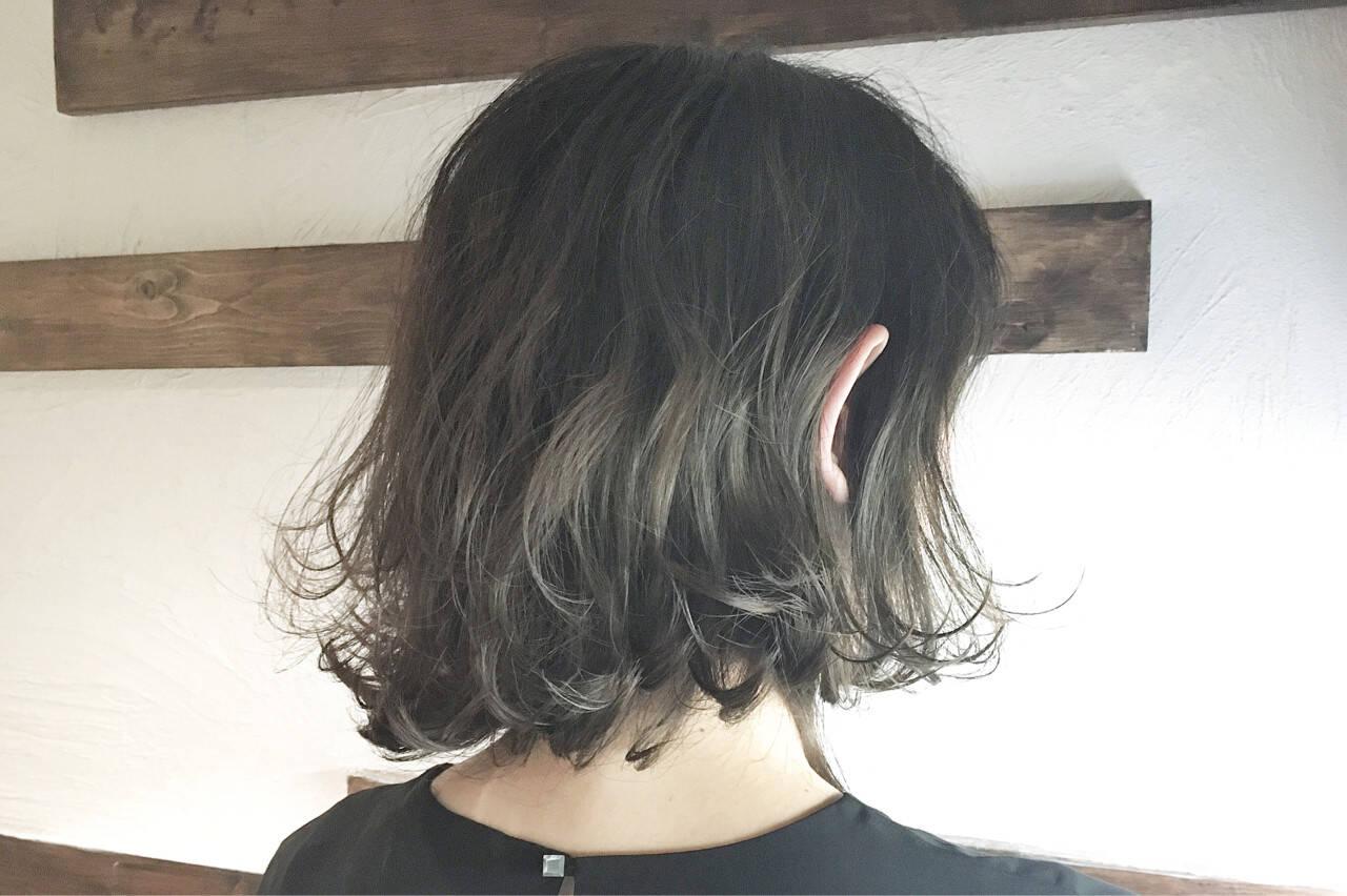 パーマ モード グレージュ ボブヘアスタイルや髪型の写真・画像