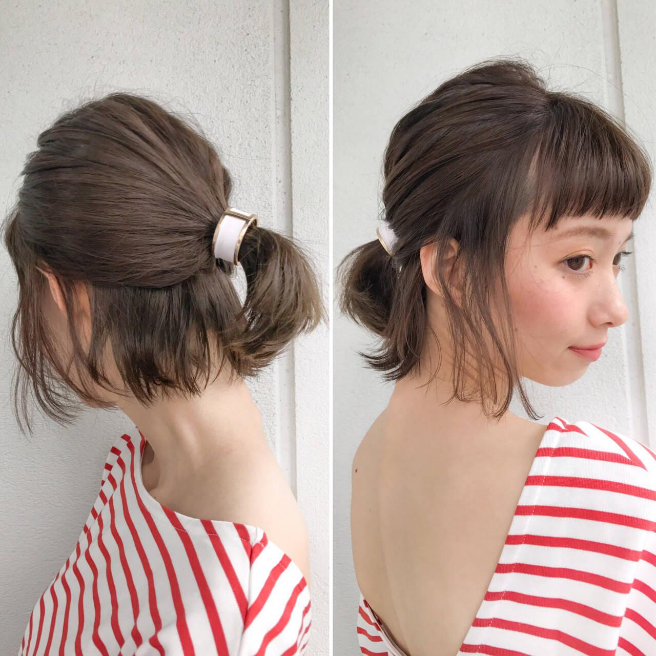 簡単ヘアアレンジ ボブ ミルクティー ハーフアップヘアスタイルや髪型の写真・画像