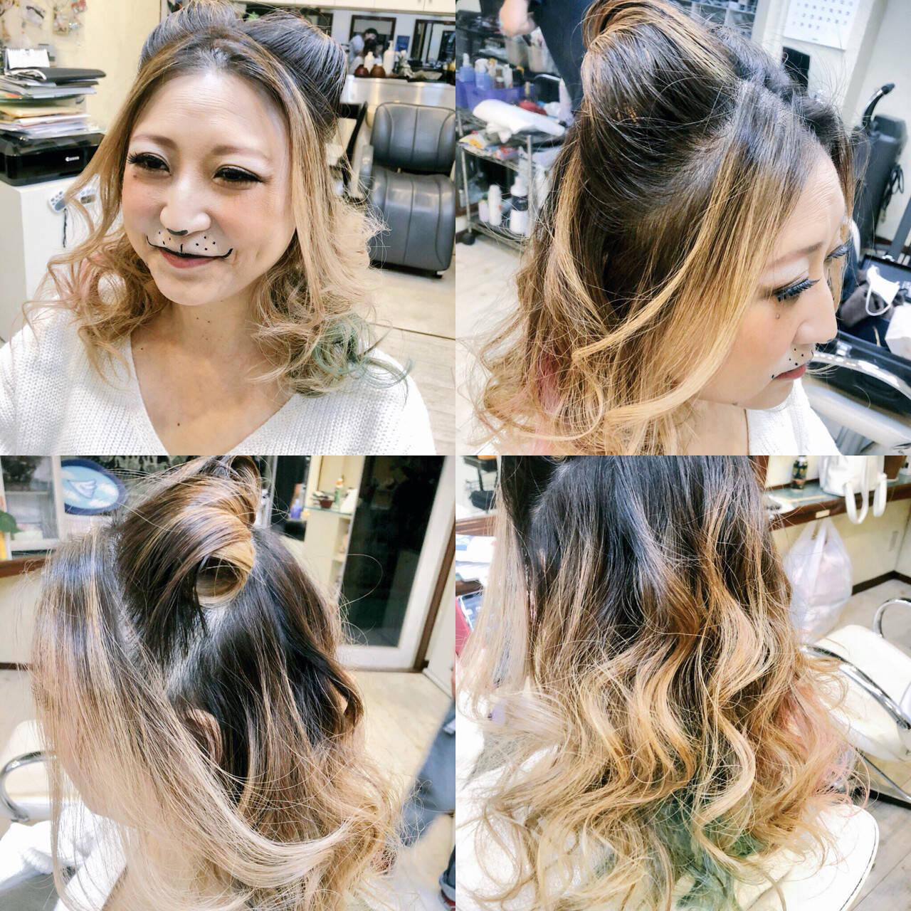 インナーカラー ハーフアップ 秋 猫耳ヘアスタイルや髪型の写真・画像
