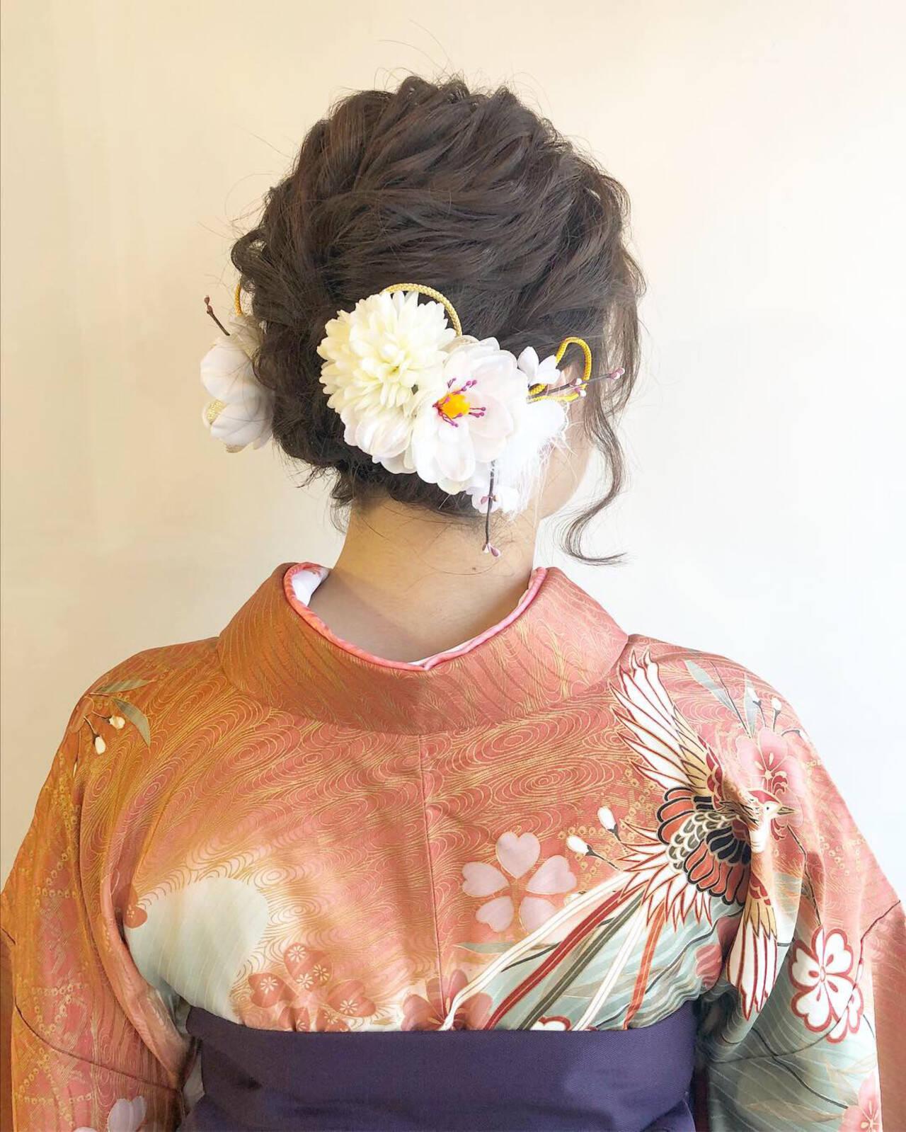 和装ヘア ミディアム ヘアアレンジ ナチュラルヘアスタイルや髪型の写真・画像