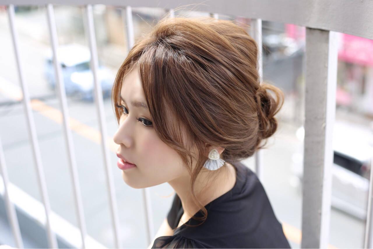 夏 ヘアアレンジ セミロング まとめ髪ヘアスタイルや髪型の写真・画像