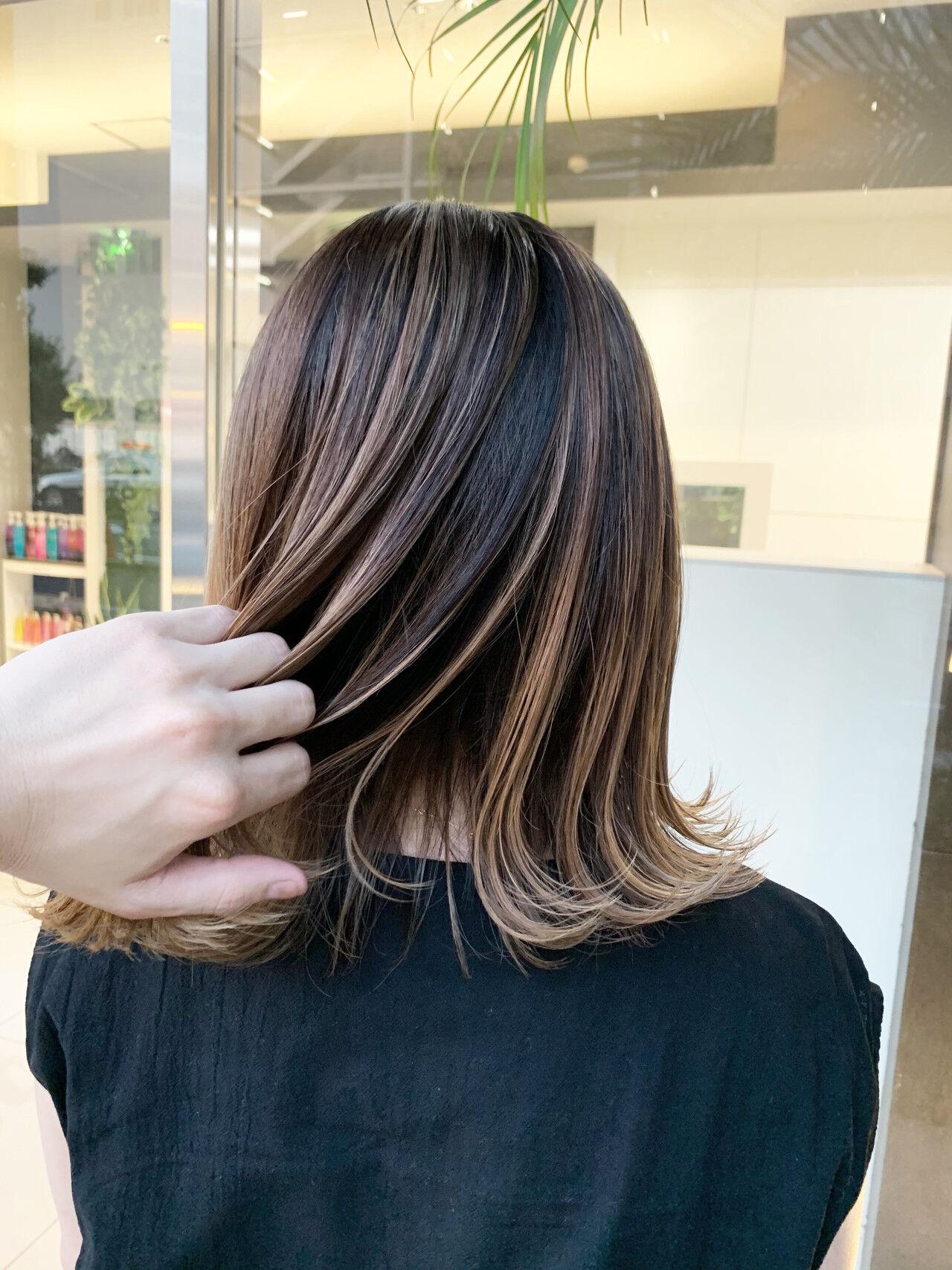 ハイライト ストリート バレイヤージュ インナーカラーヘアスタイルや髪型の写真・画像