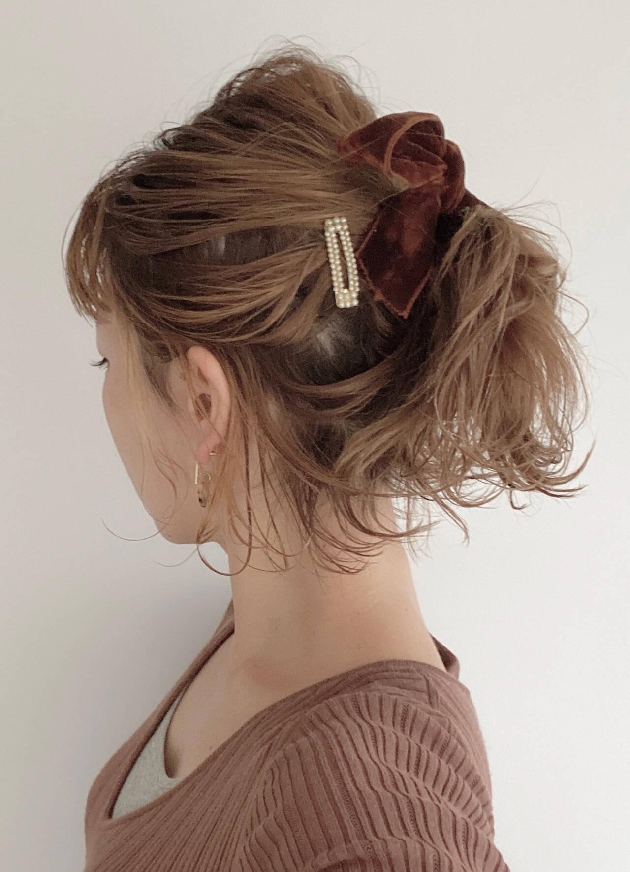 ヘアアレンジ ポニーテール ナチュラル ボブヘアスタイルや髪型の写真・画像