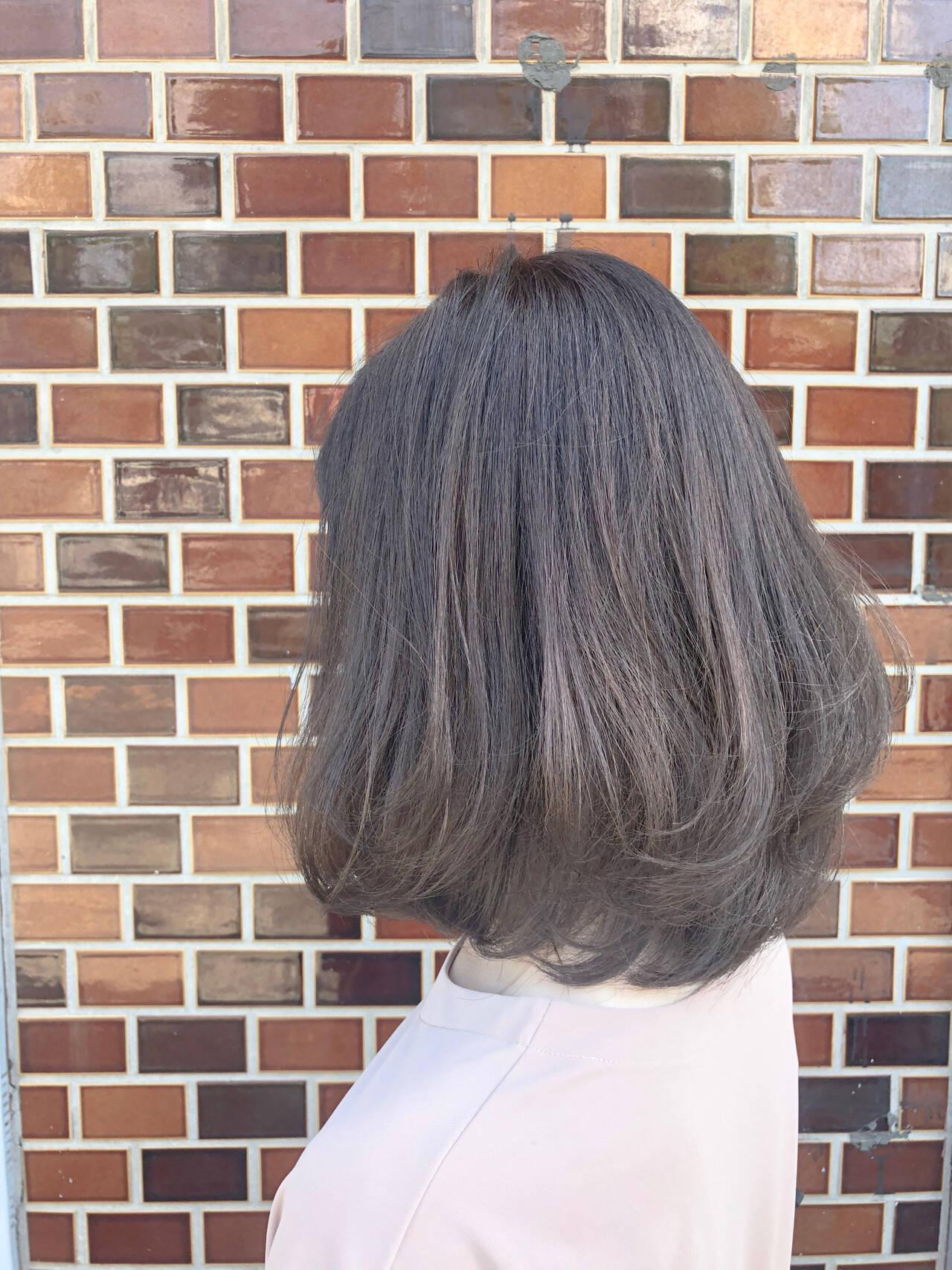 透明感カラー ナチュラル ミディアム ゆるふわヘアスタイルや髪型の写真・画像