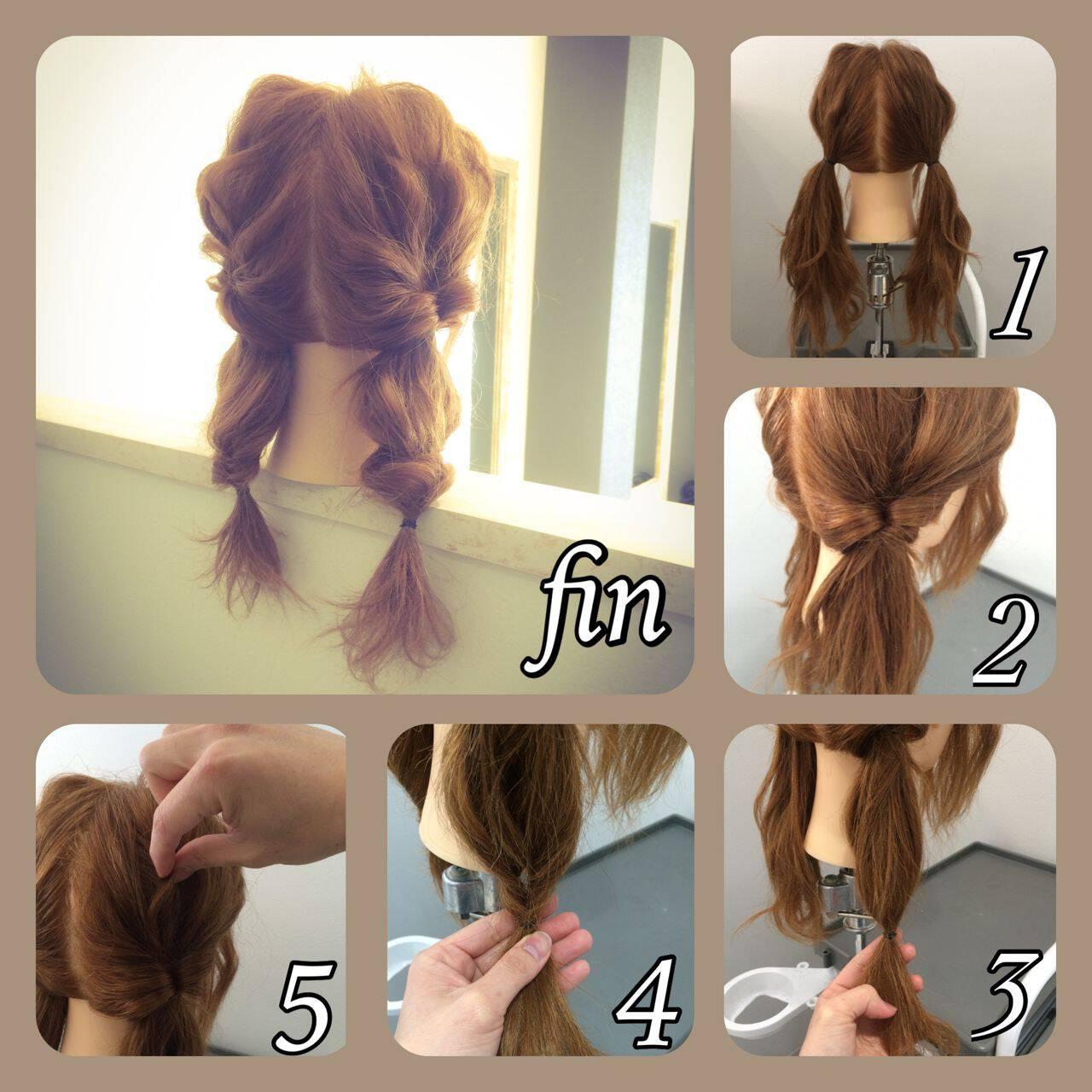 ショート ヘアアレンジ ツインテール 簡単ヘアアレンジヘアスタイルや髪型の写真・画像