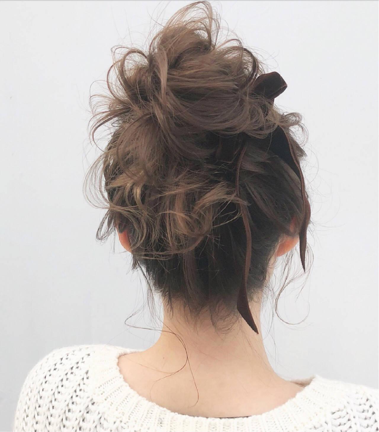 大人かわいい お団子 ミディアム デートヘアスタイルや髪型の写真・画像