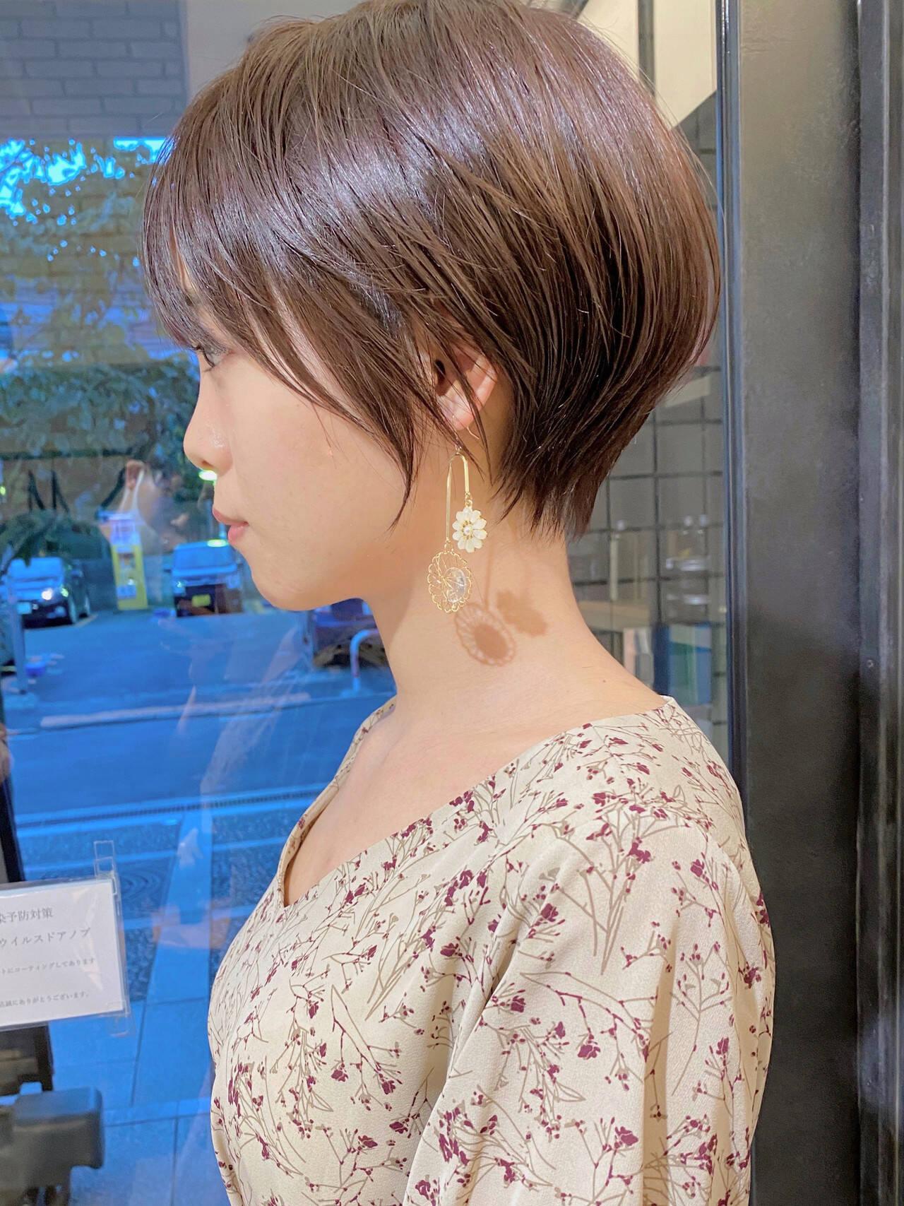 ベリーショート マッシュショート ひし形シルエット ナチュラルヘアスタイルや髪型の写真・画像