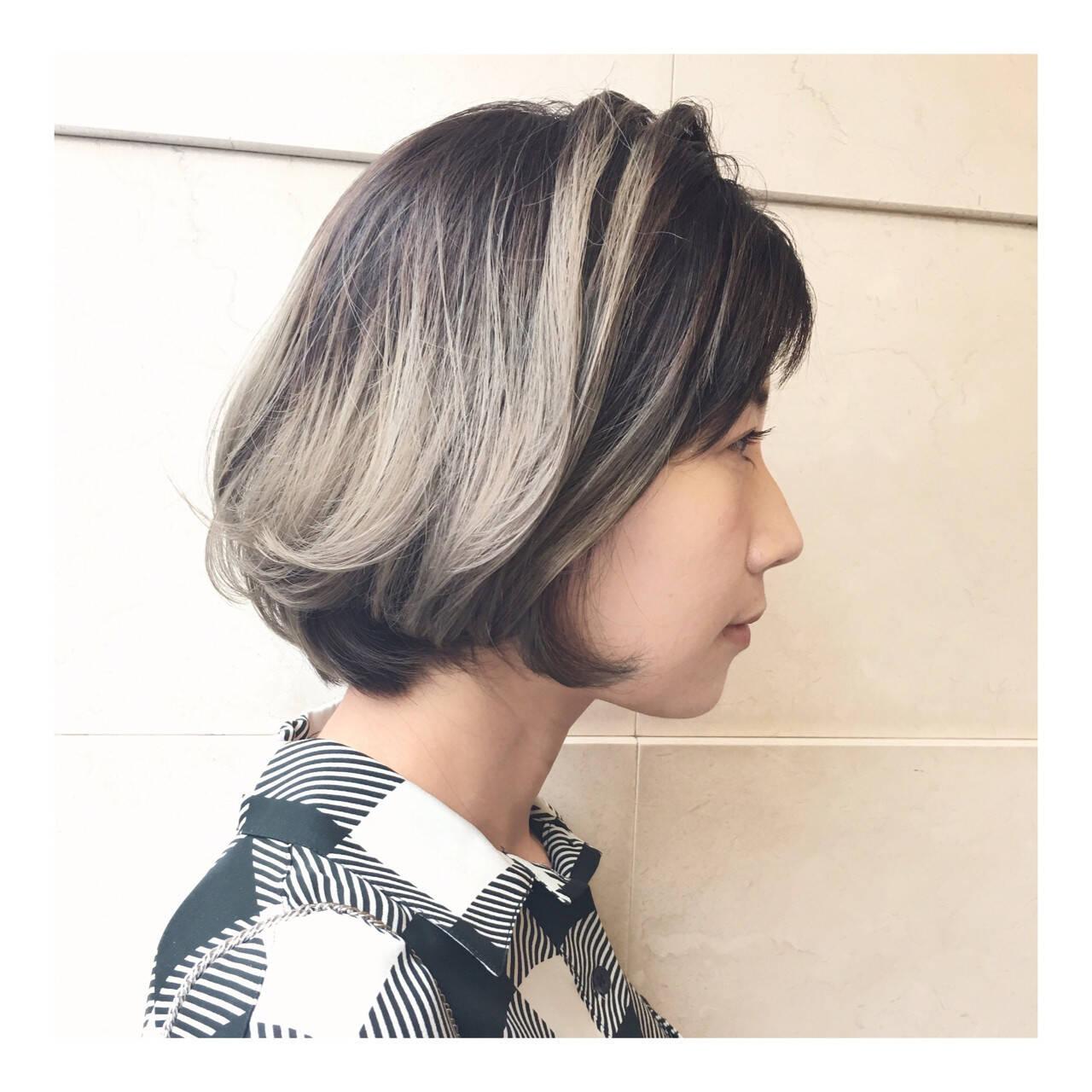 外国人風 アッシュグレー ハイライト 外国人風カラーヘアスタイルや髪型の写真・画像