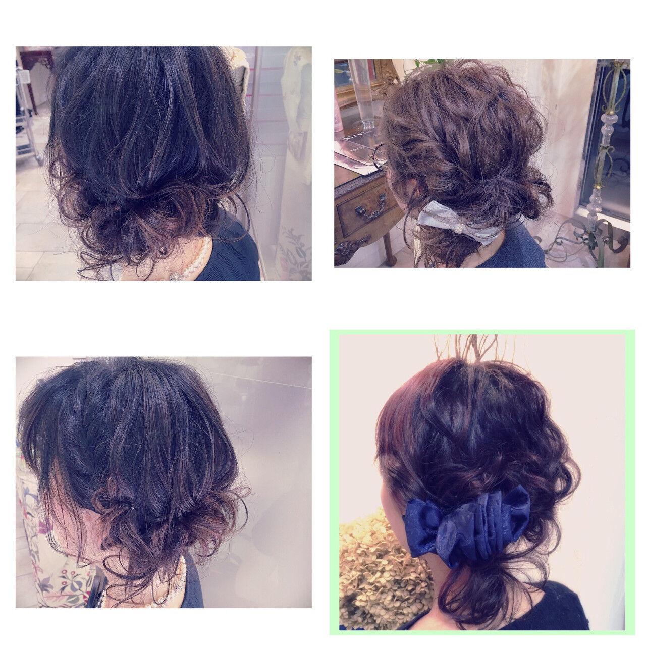 セミロング ハーフアップ 大人かわいい 簡単ヘアアレンジヘアスタイルや髪型の写真・画像