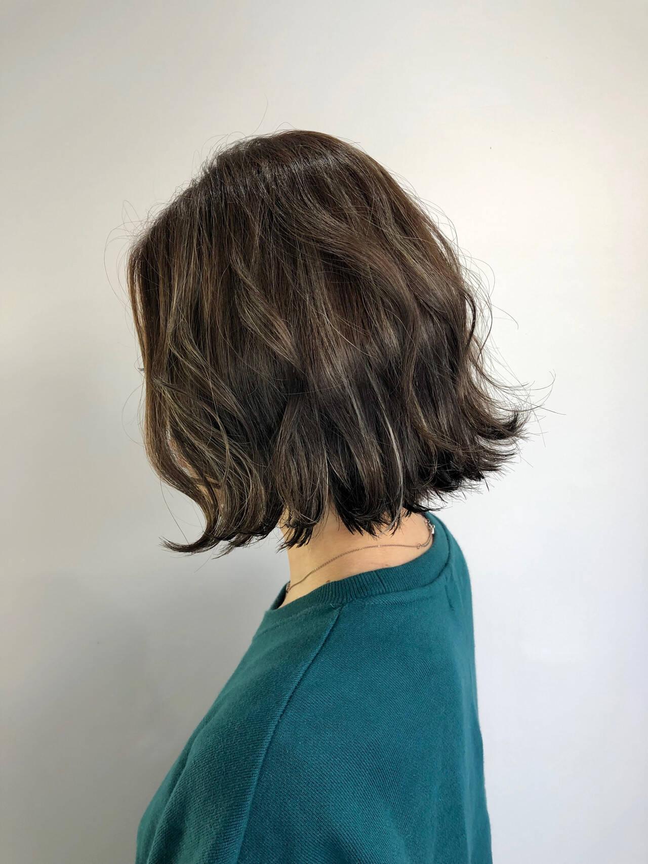 切りっぱなしボブ 3Dカラー ボブ ナチュラルヘアスタイルや髪型の写真・画像