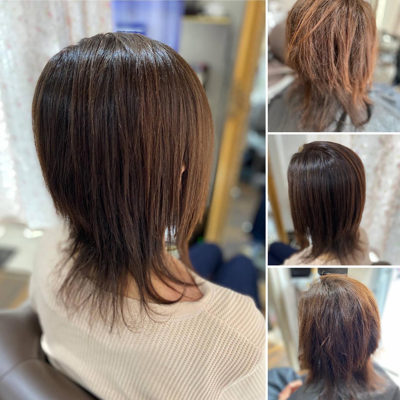 縮毛矯正 髪質改善 ミディアム 髪質改善カラーヘアスタイルや髪型の写真・画像