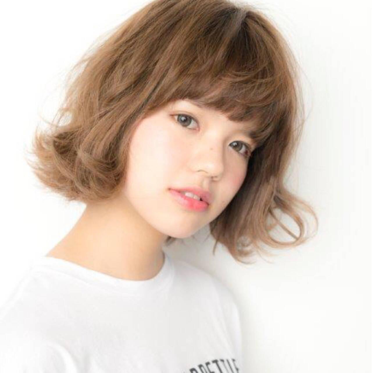 簡単 パーマ キュート ボブヘアスタイルや髪型の写真・画像