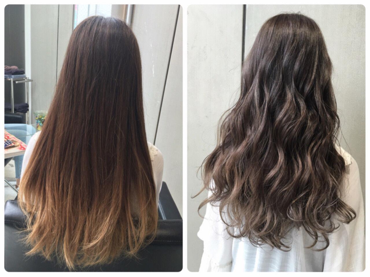 外国人風 暗髪 アッシュ グラデーションカラーヘアスタイルや髪型の写真・画像